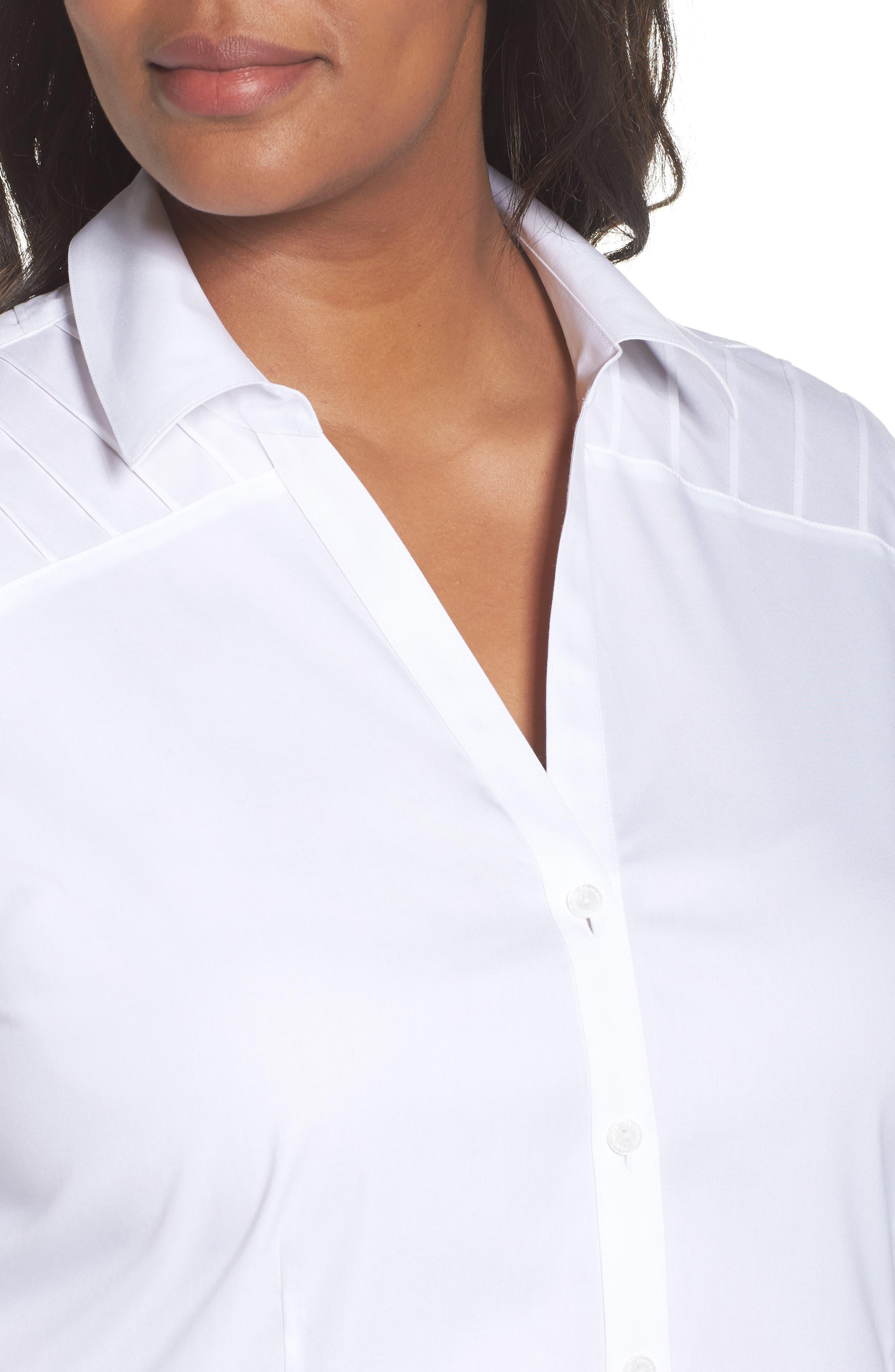 Alternate Image 4  - Foxcroft Rita Solid Stretch Cotton Top (Plus Size)