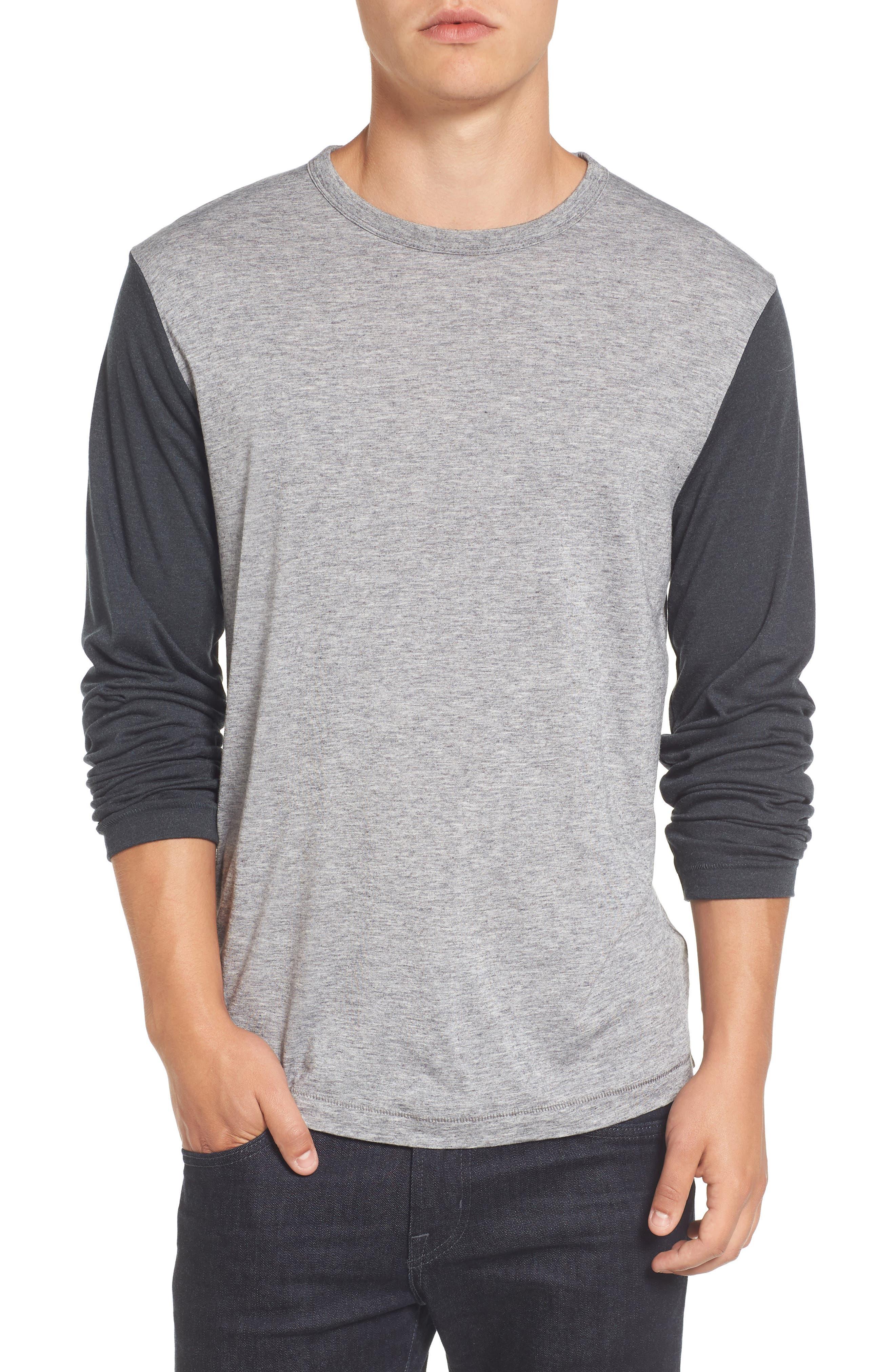 Contrast Long Sleeve T-Shirt,                         Main,                         color, Grey Melange/ Ebony