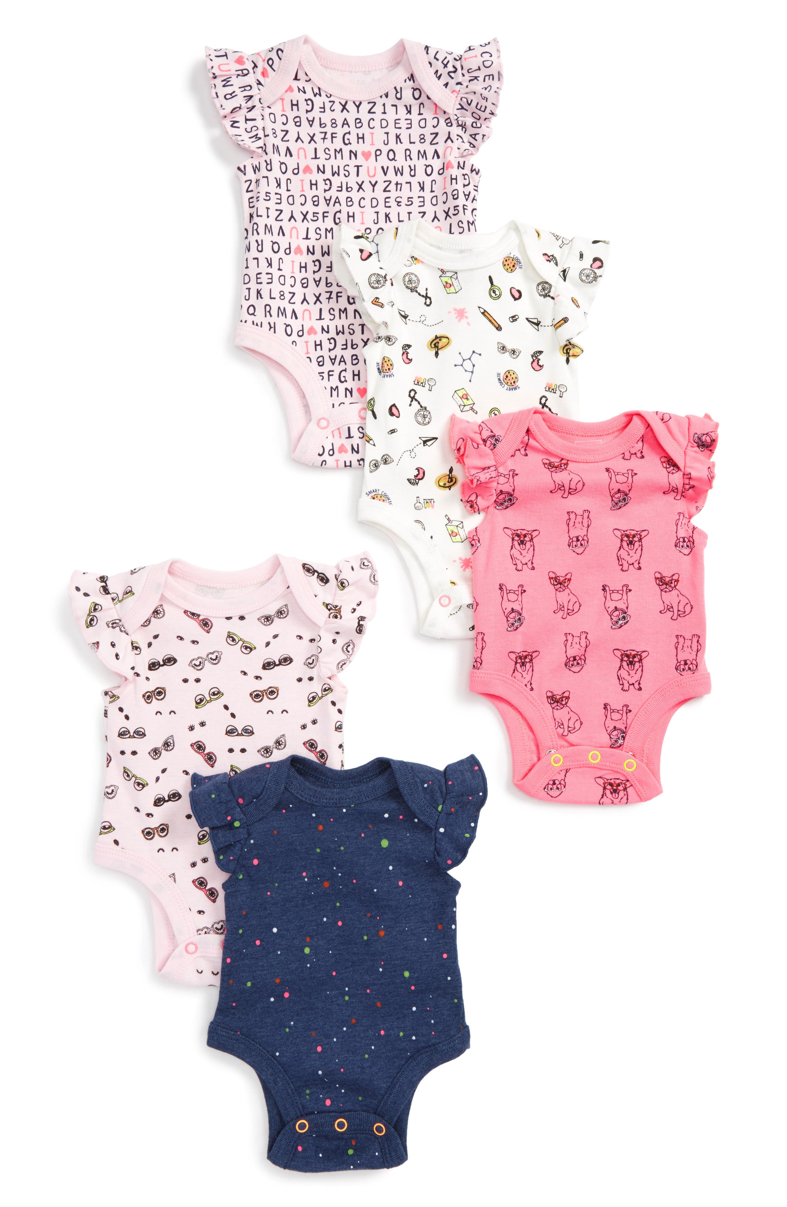 Main Image - Rosie Pope Smart Cookie 5-Pack Bodysuits (Baby Girls)