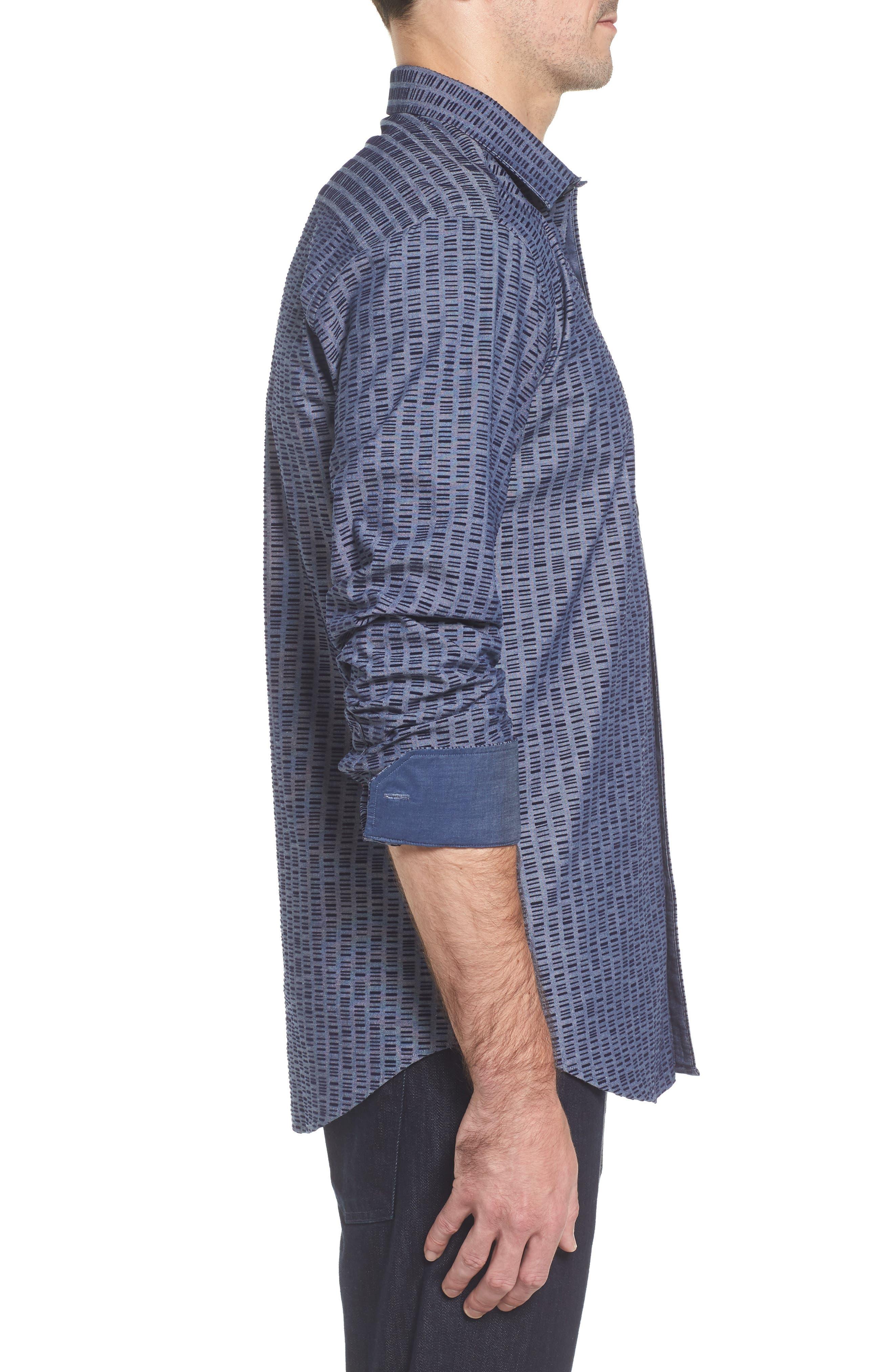 Alternate Image 3  - Bugatchi Slim Fit Flock Print Sport Shirt
