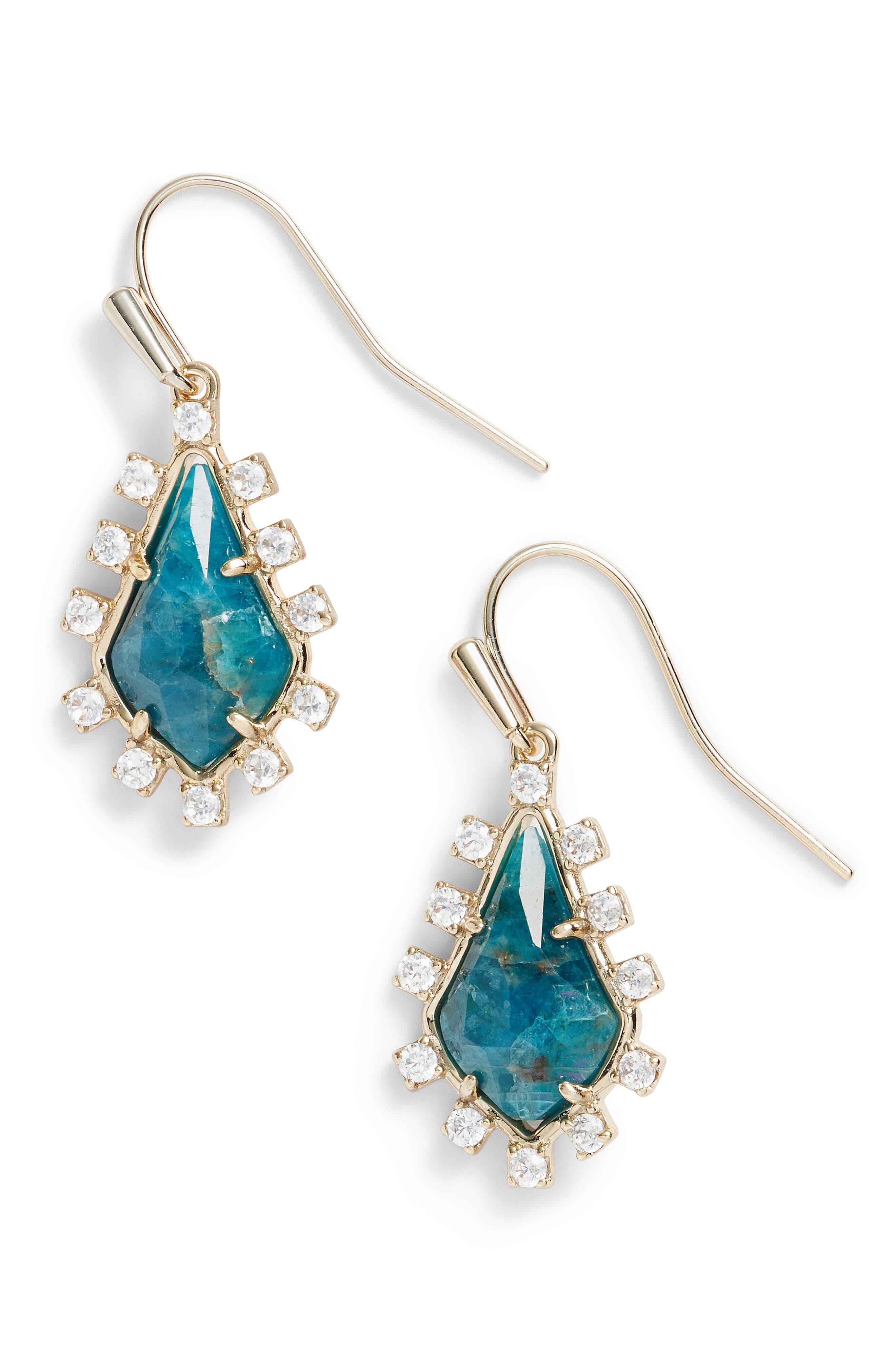 Juniper Drop Earrings,                         Main,                         color, Aqua/ Brass