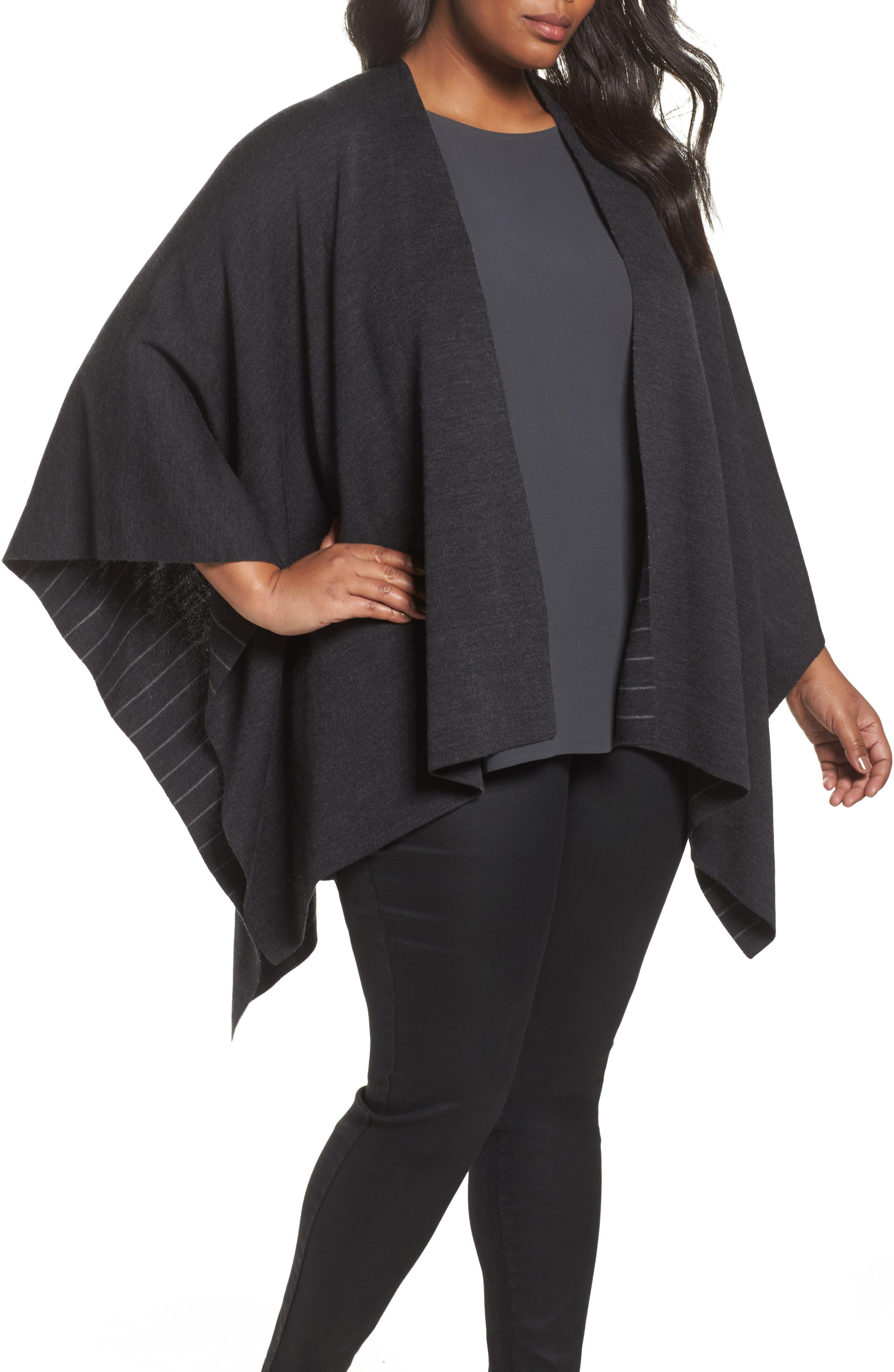 Alternate Image 1 Selected - Eileen Fisher Reversible Wool Blend Serape (Plus Size)
