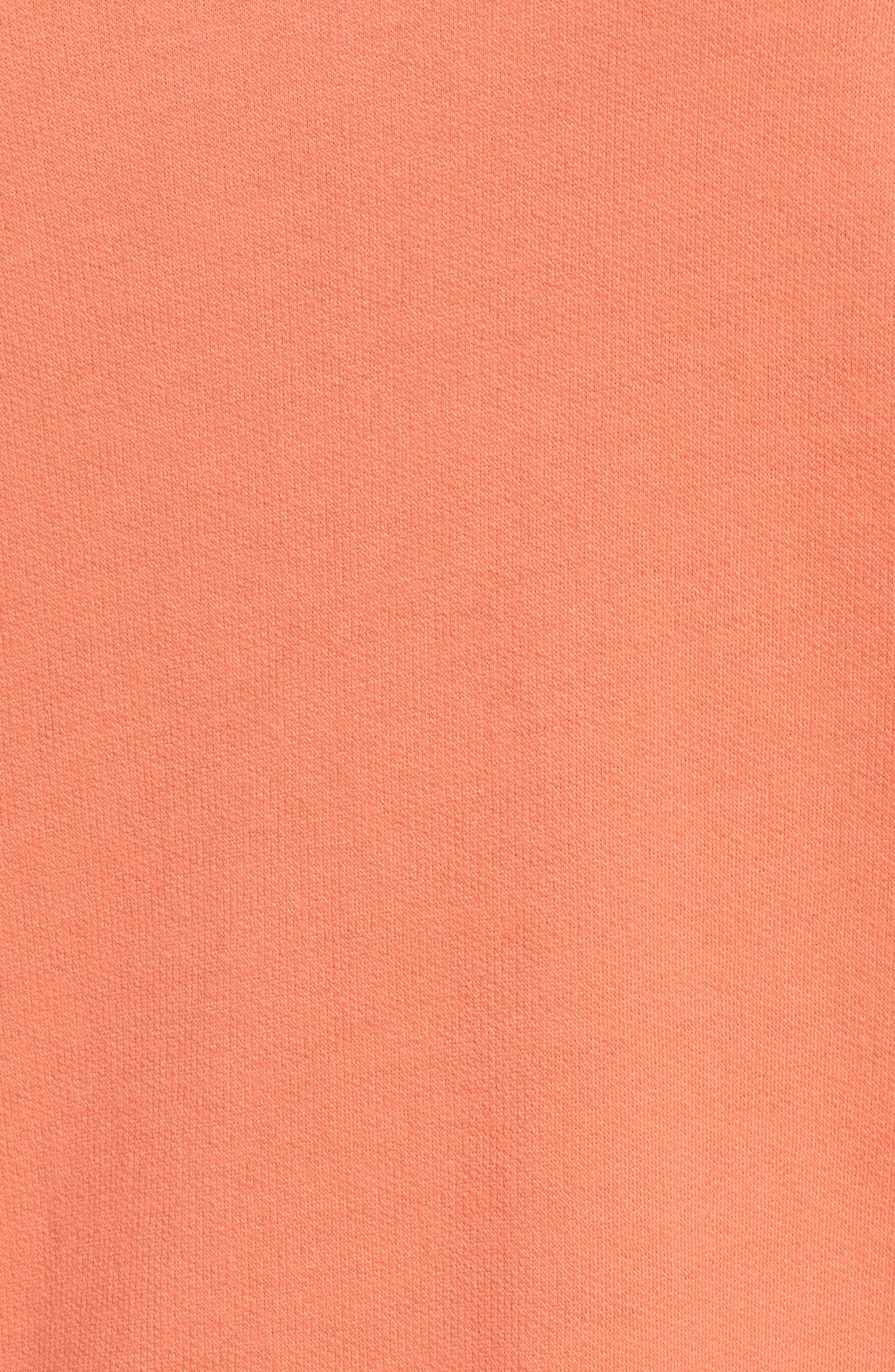 Cowl Neck Tunic Sweatshirt,                             Alternate thumbnail 5, color,                             Coral Sea