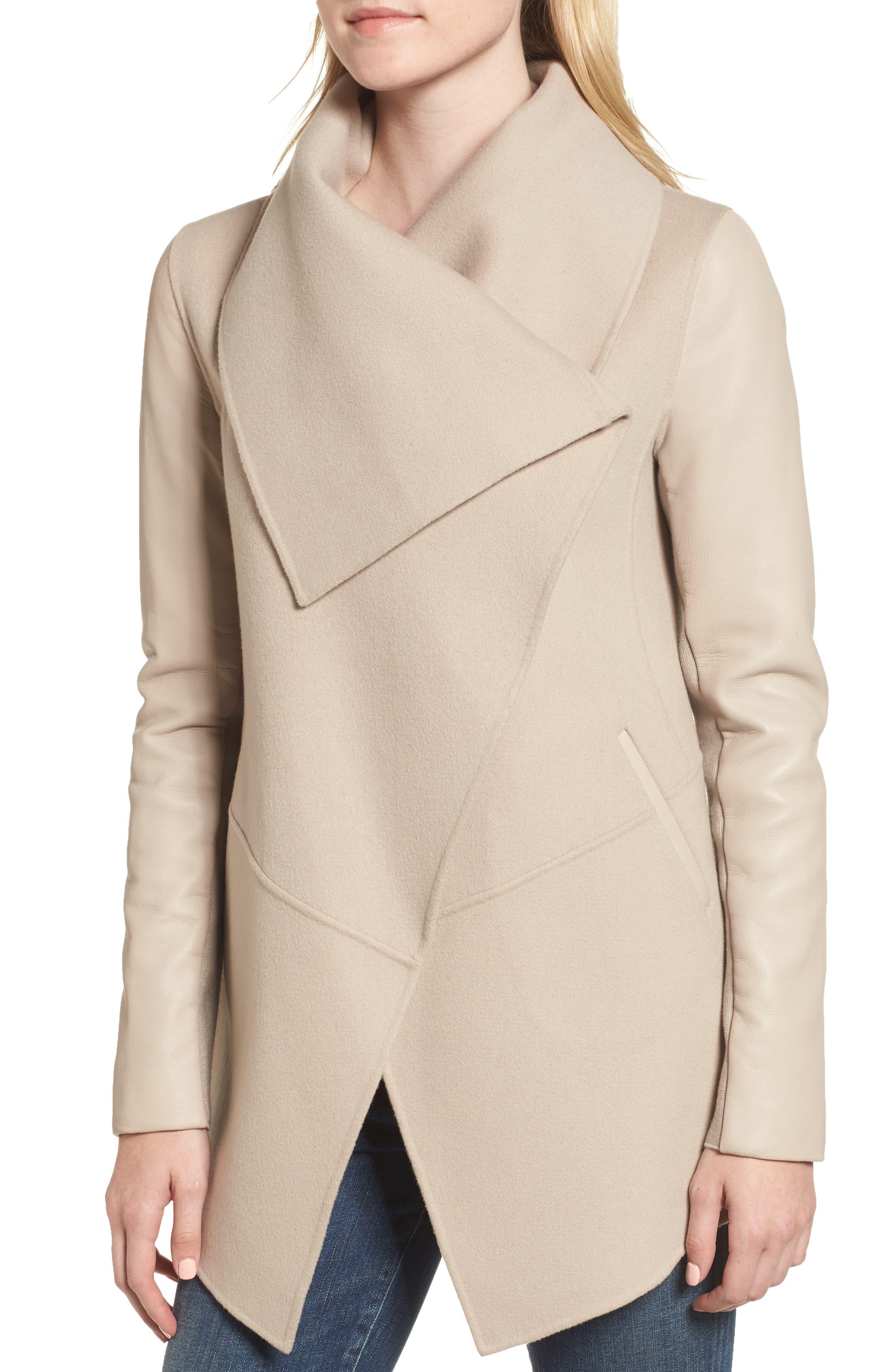 Vane Asymmetrical Leather Sleeve Coat,                             Alternate thumbnail 4, color,                             Sand