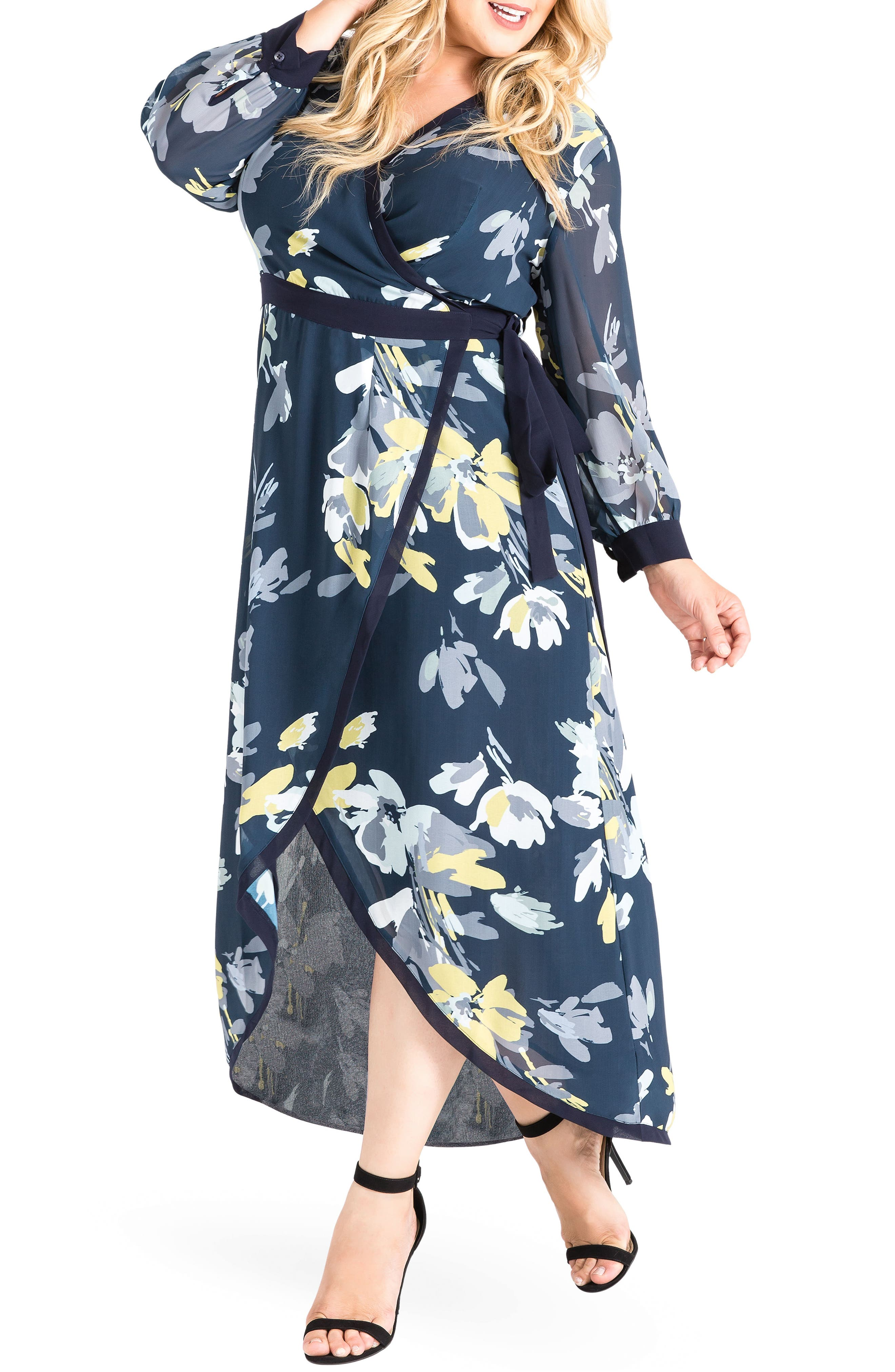 Elle High/Low Wrap Dress,                             Alternate thumbnail 3, color,                             Navy Petals