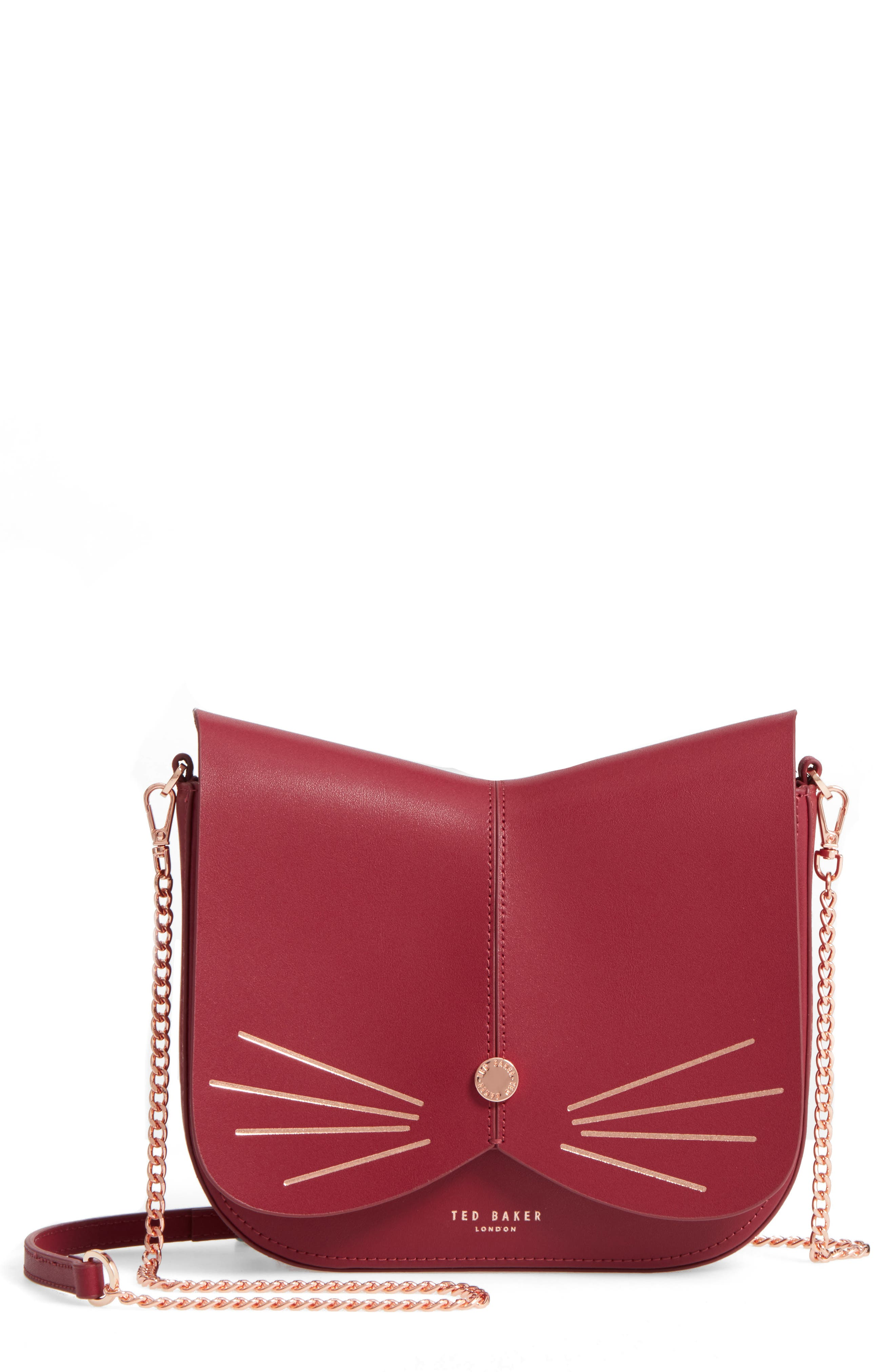 Kittii Cat Leather Crossbody Bag,                             Main thumbnail 1, color,                             Oxblood