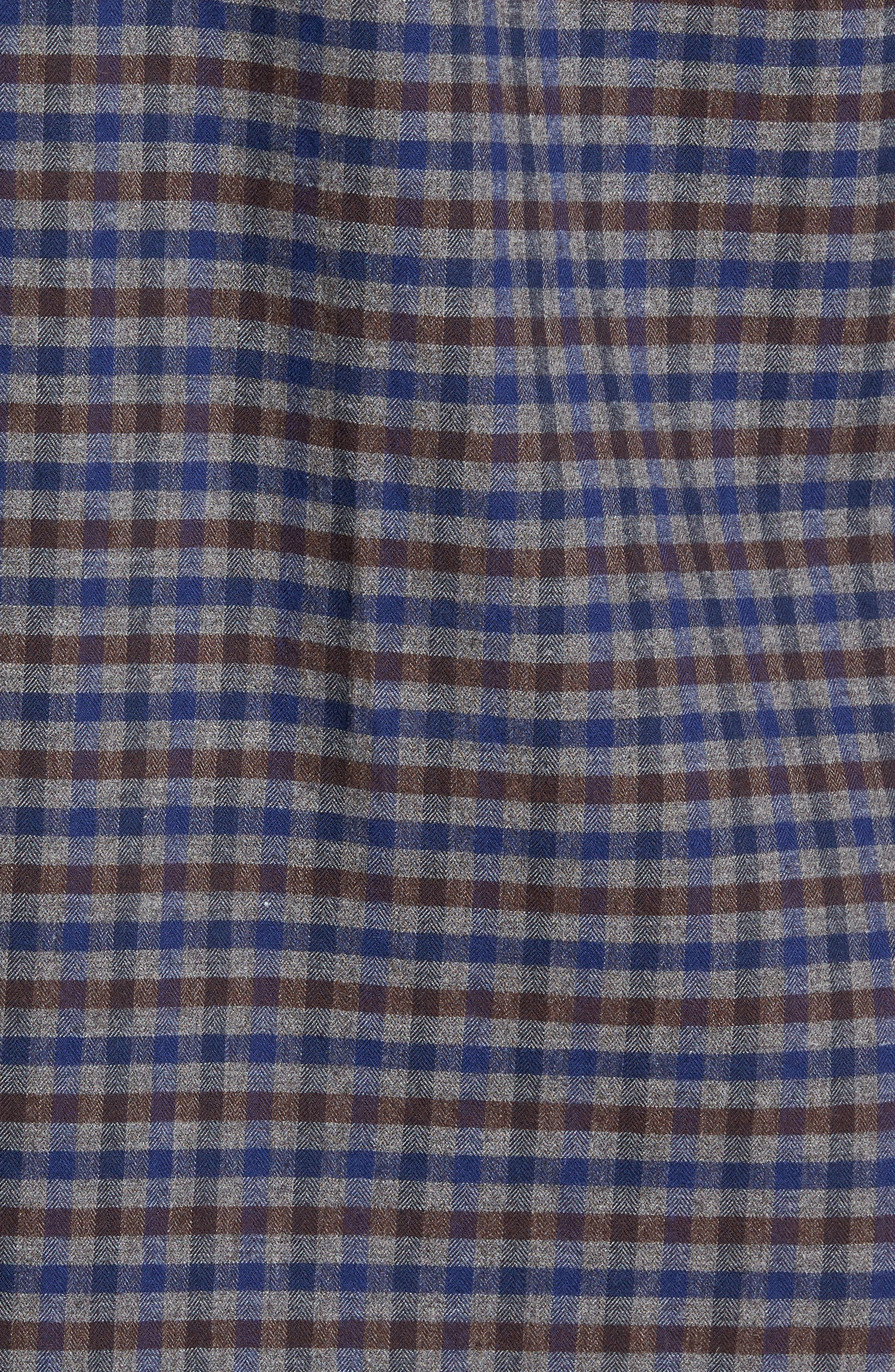 Regular Fit Lumber Check Flannel Shirt,                             Alternate thumbnail 5, color,                             Grey Shade Brown Check