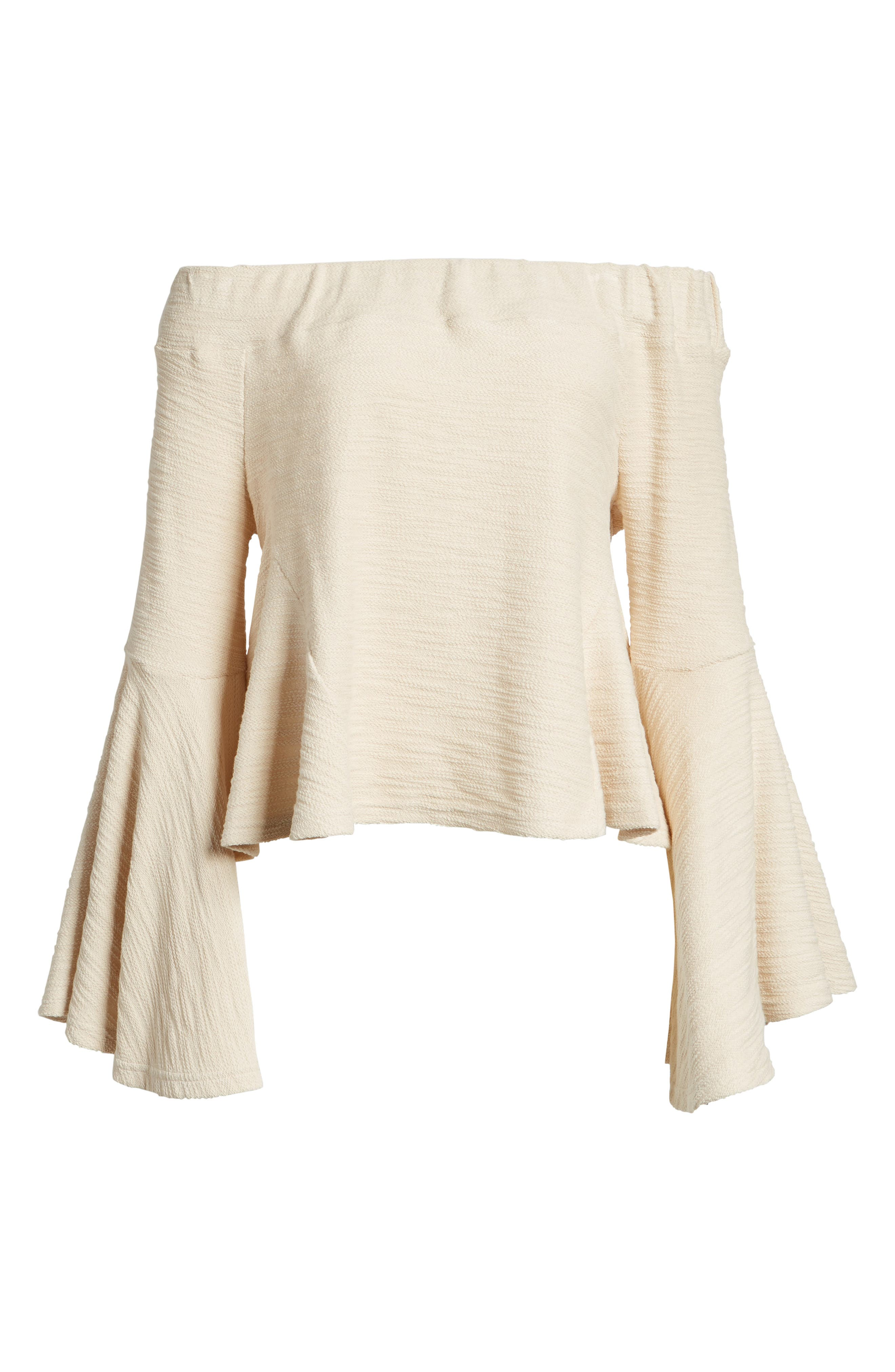 Alternate Image 7  - MOON RIVER Off the Shoulder Bell Sleeve Top