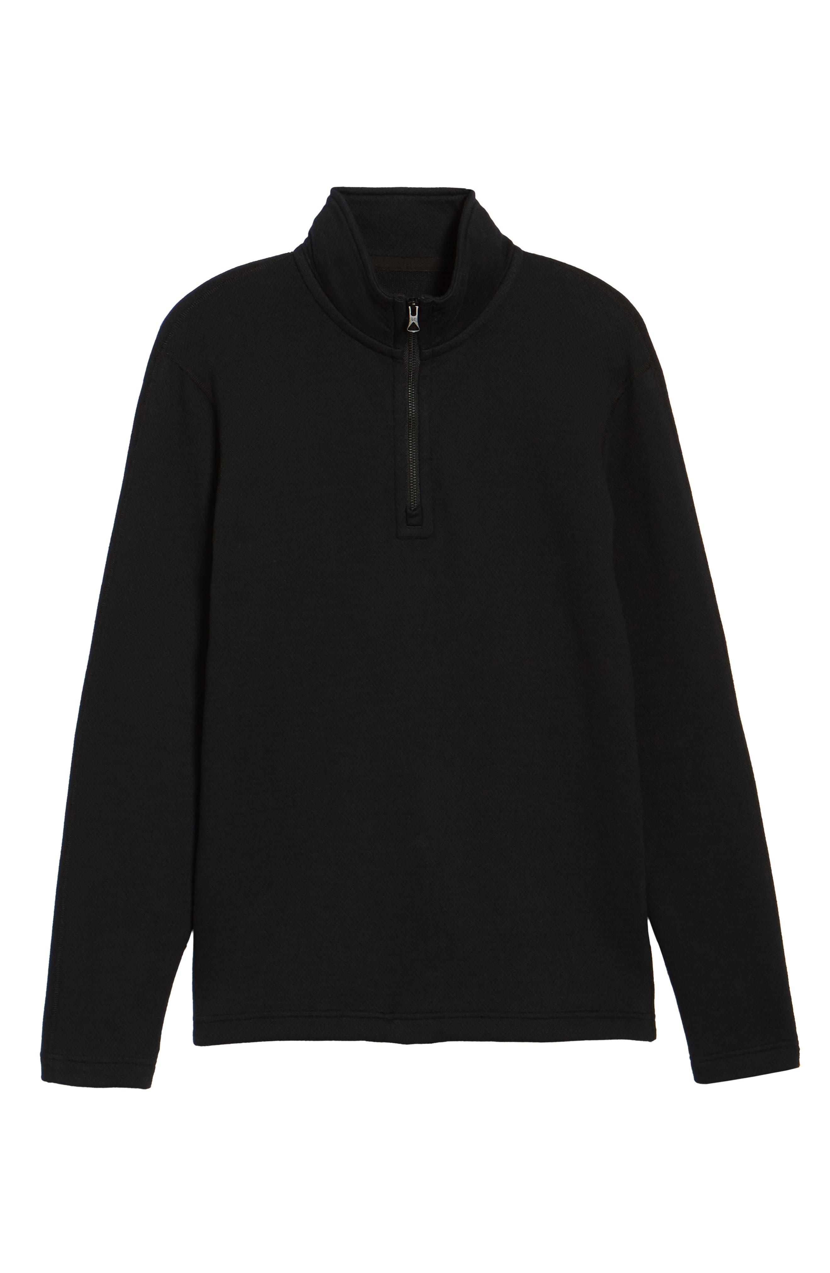Mesh Half Zip Fleece Top,                             Alternate thumbnail 5, color,                             Black