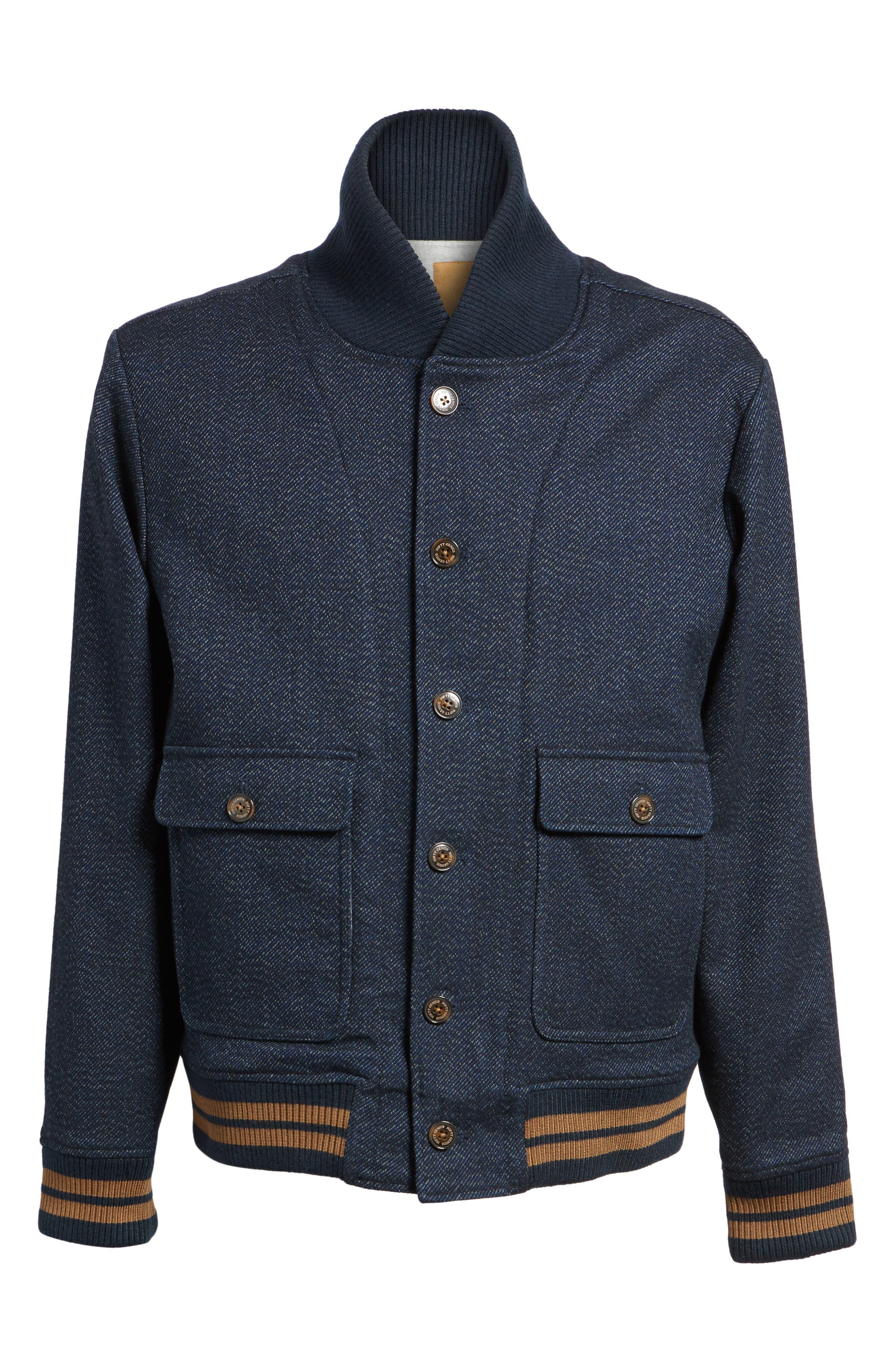 Roll Collar Varsity Jacket,                             Alternate thumbnail 6, color,                             Indigo