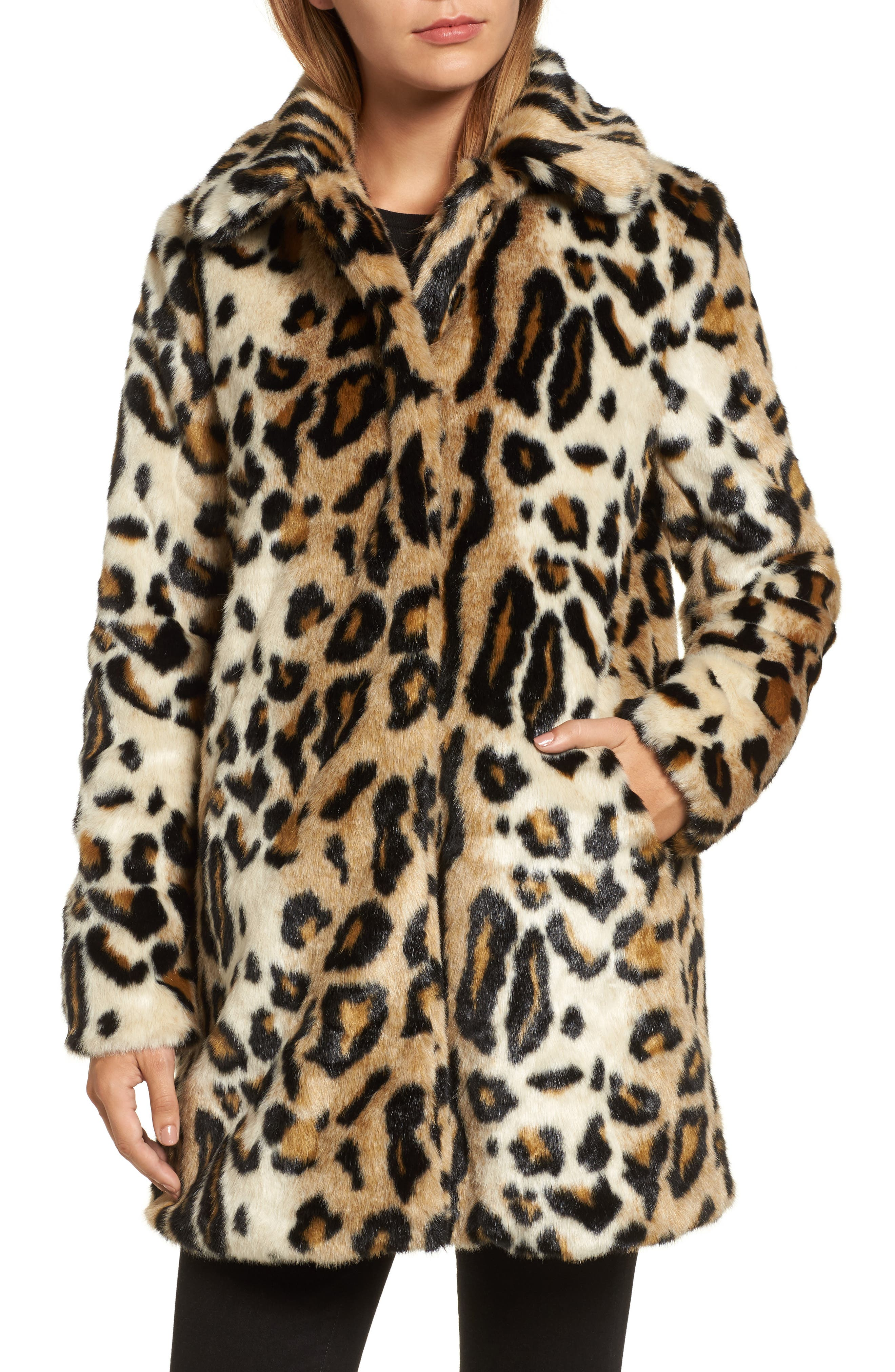 Leopard Spot Reversible Faux Fur Coat,                             Alternate thumbnail 4, color,                             Leopard