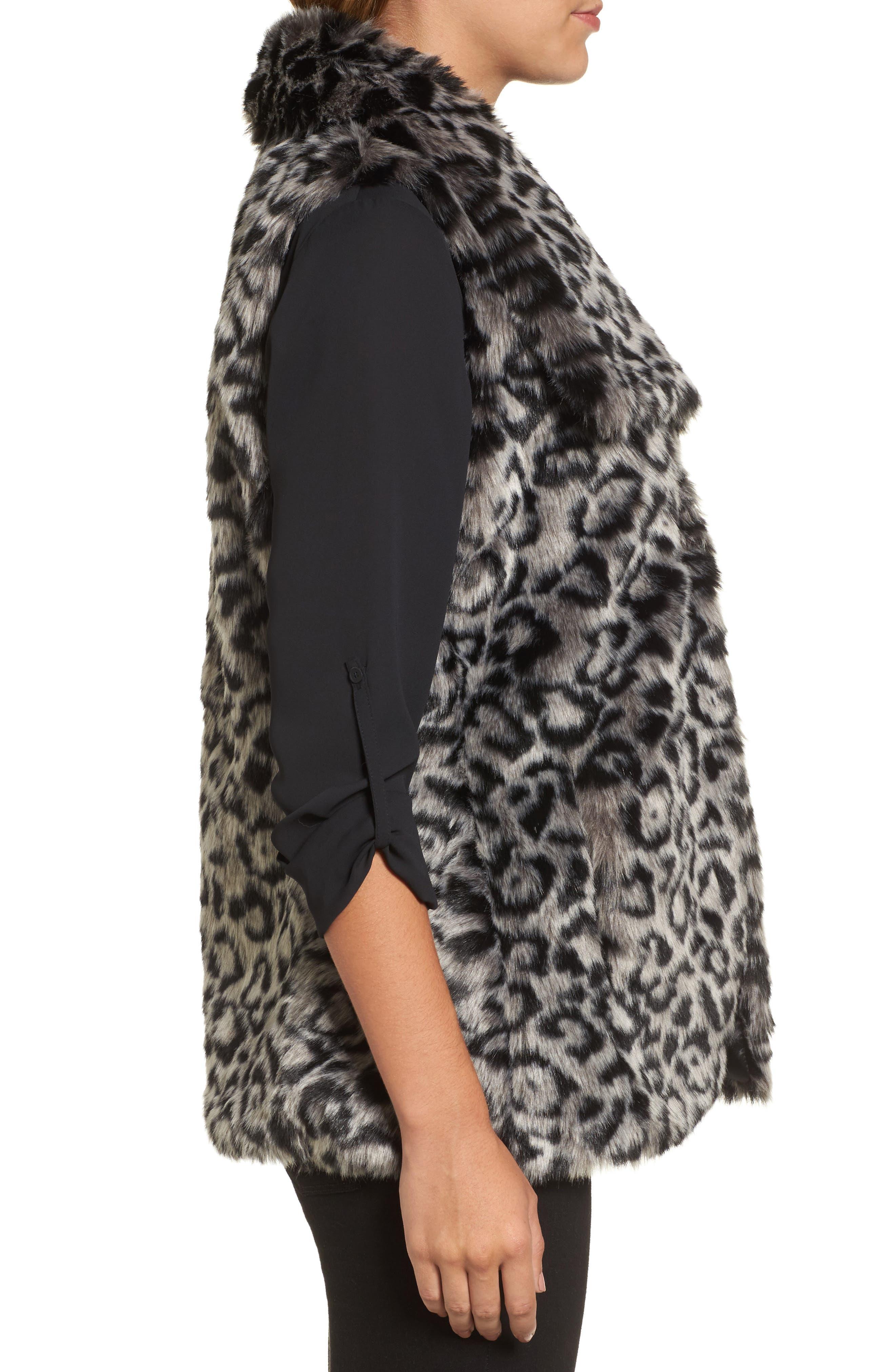 Faux Fur Vest,                             Alternate thumbnail 3, color,                             Snow Leopard