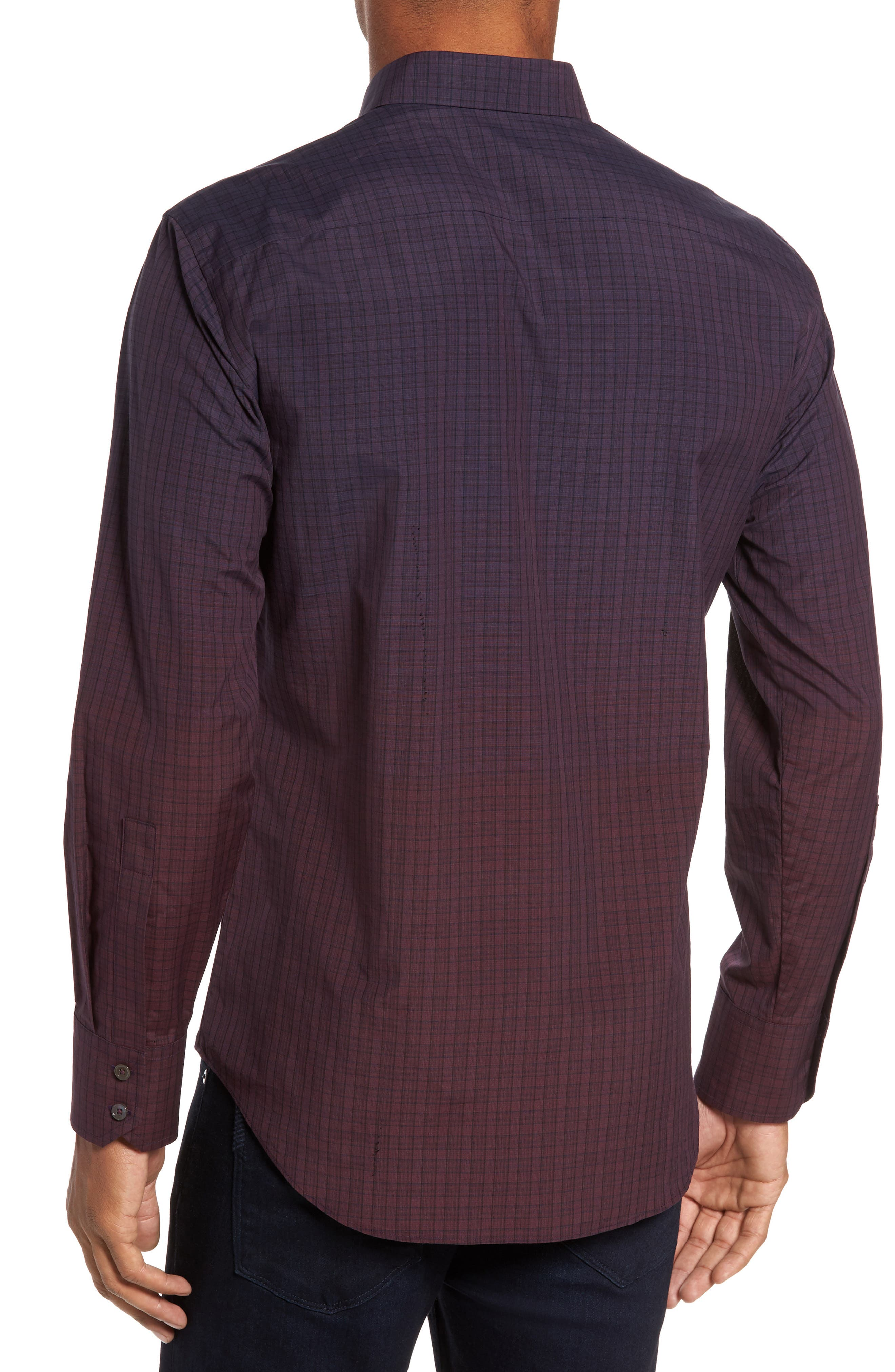 Wein Slim Fit Check Sport Shirt,                             Alternate thumbnail 2, color,                             Wine