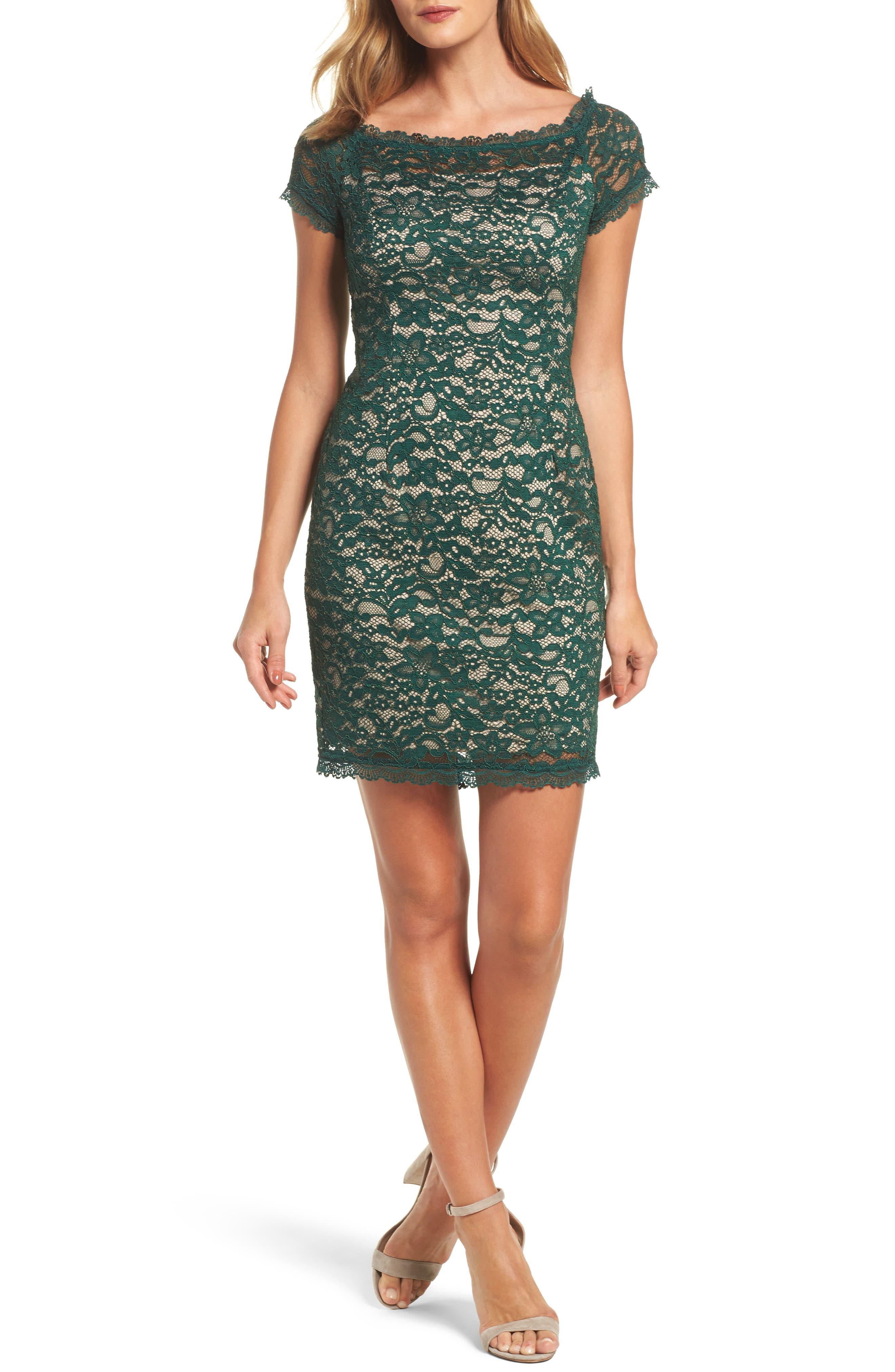 Aubrey Lace Sheath Dress,                         Main,                         color, Hunter/ Bisque