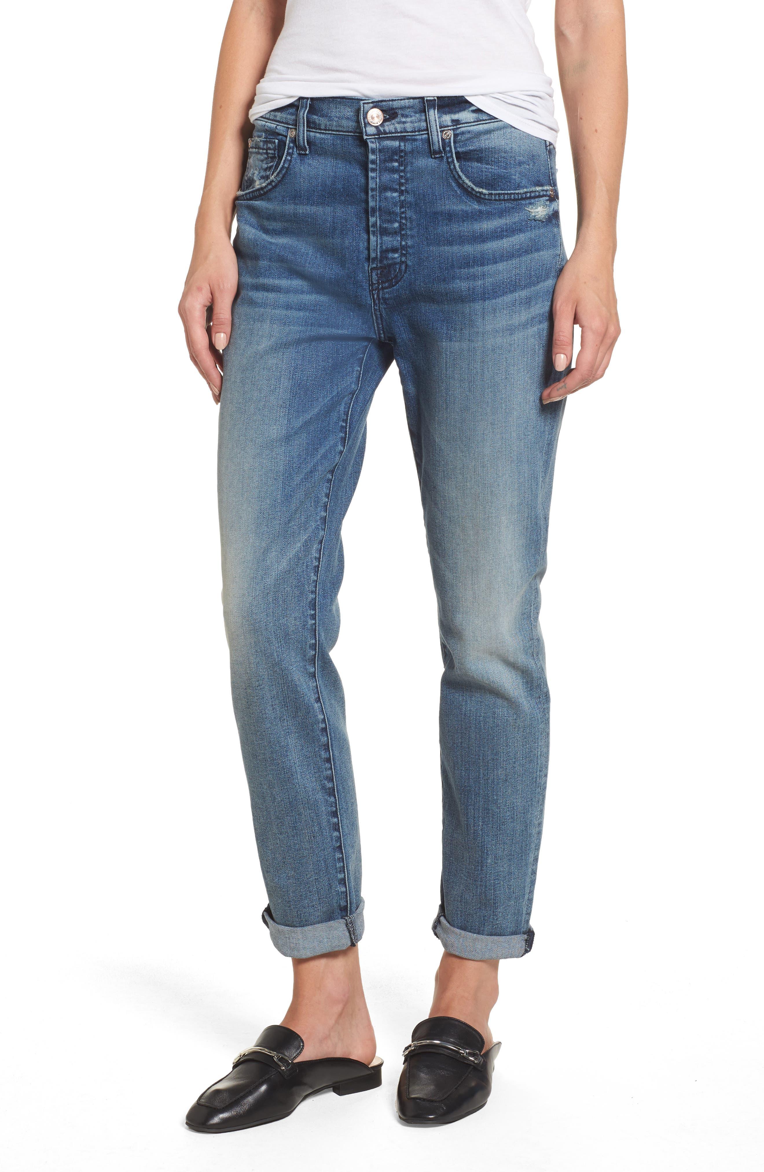 7 For All Mankind® Josefina High Waist Crop Boyfriend Jeans (Wall Street Heritage)