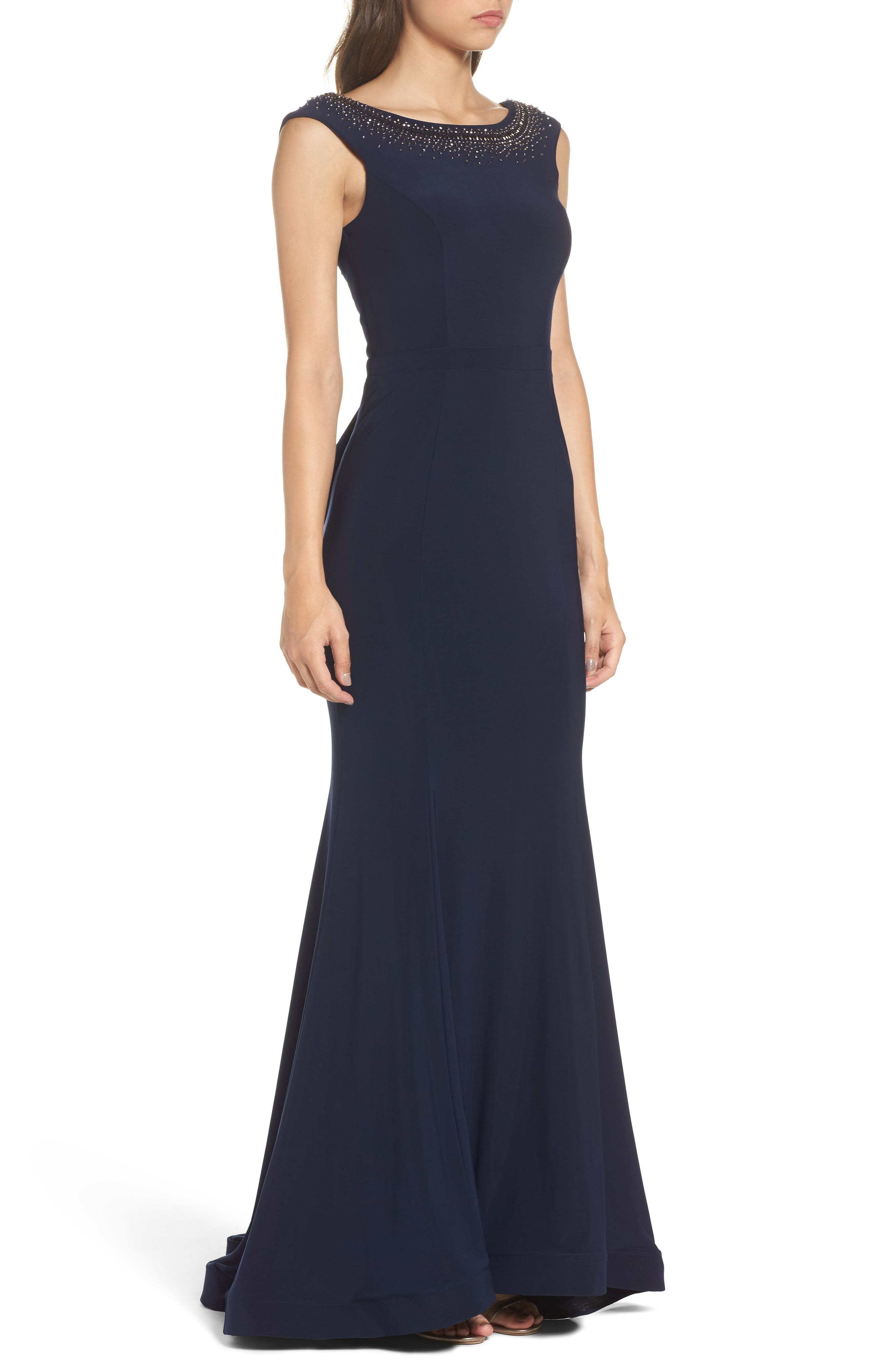 Beaded Ruffle Back Jersey Trumpet Gown,                             Alternate thumbnail 3, color,                             Navy/ Gunmetal