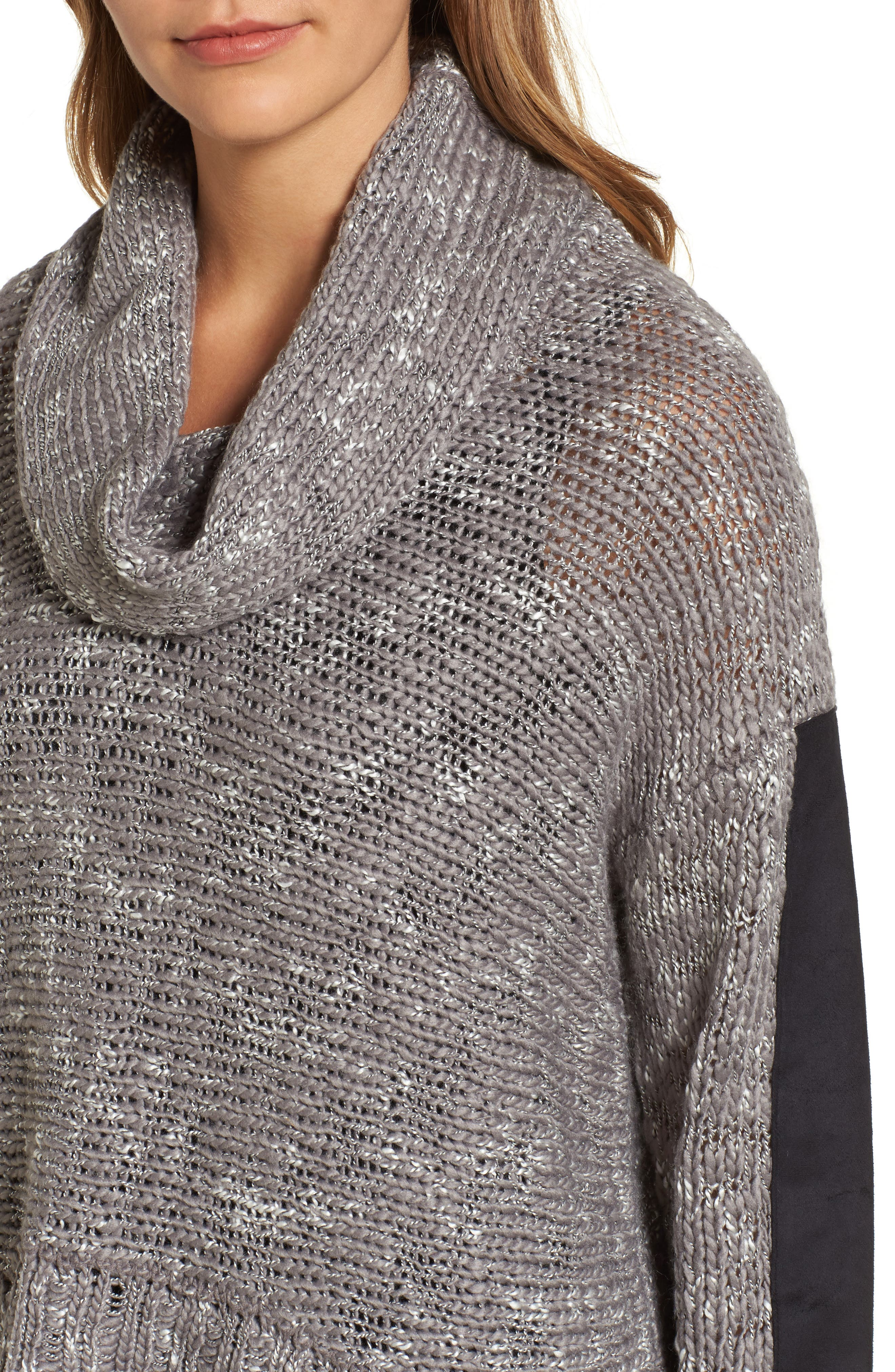 Cowl Neck Patch Sleeve Sweater,                             Alternate thumbnail 4, color,                             Fog Mix