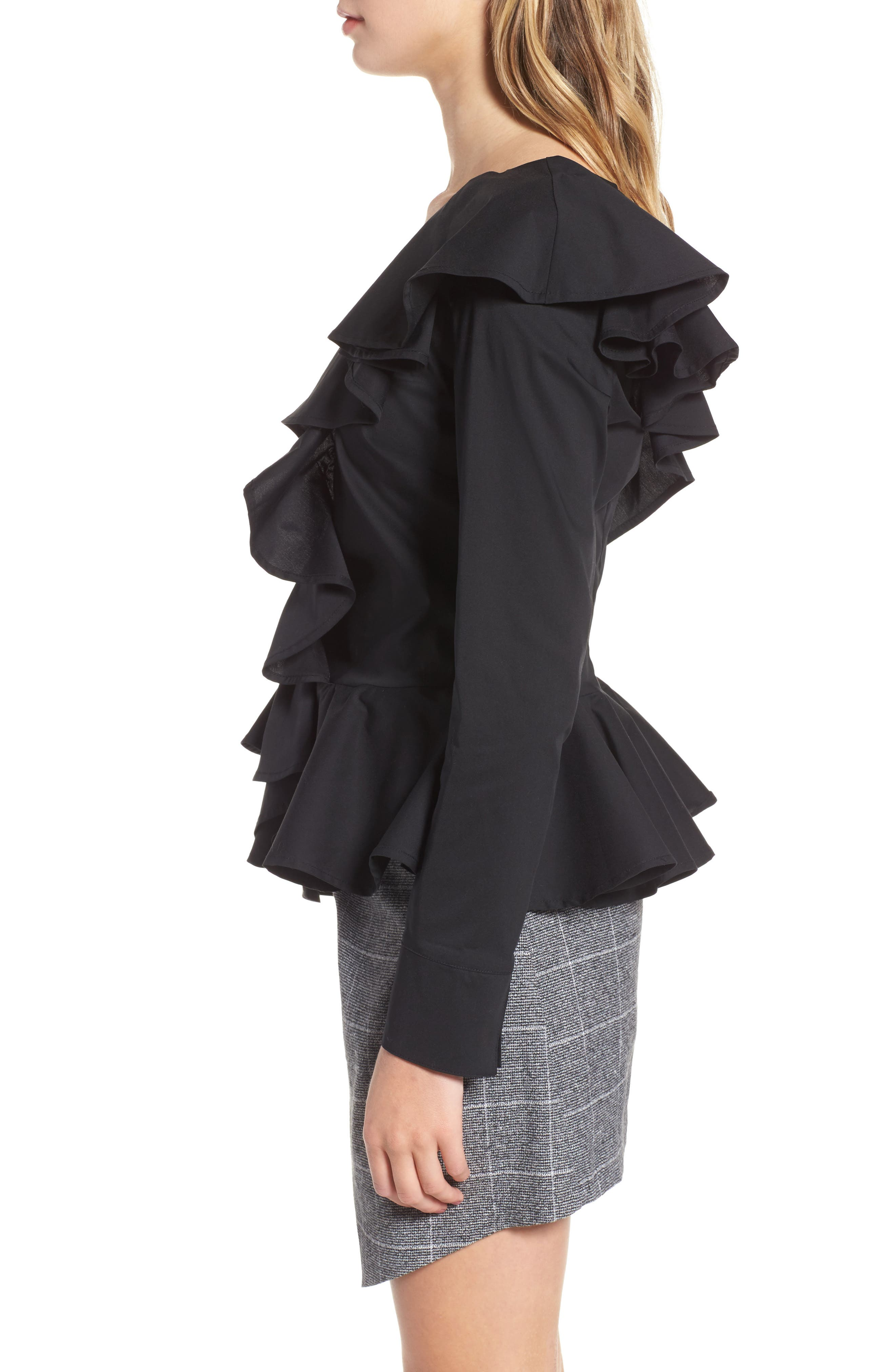Ruffle One-Shoulder Blouse,                             Alternate thumbnail 3, color,                             Black