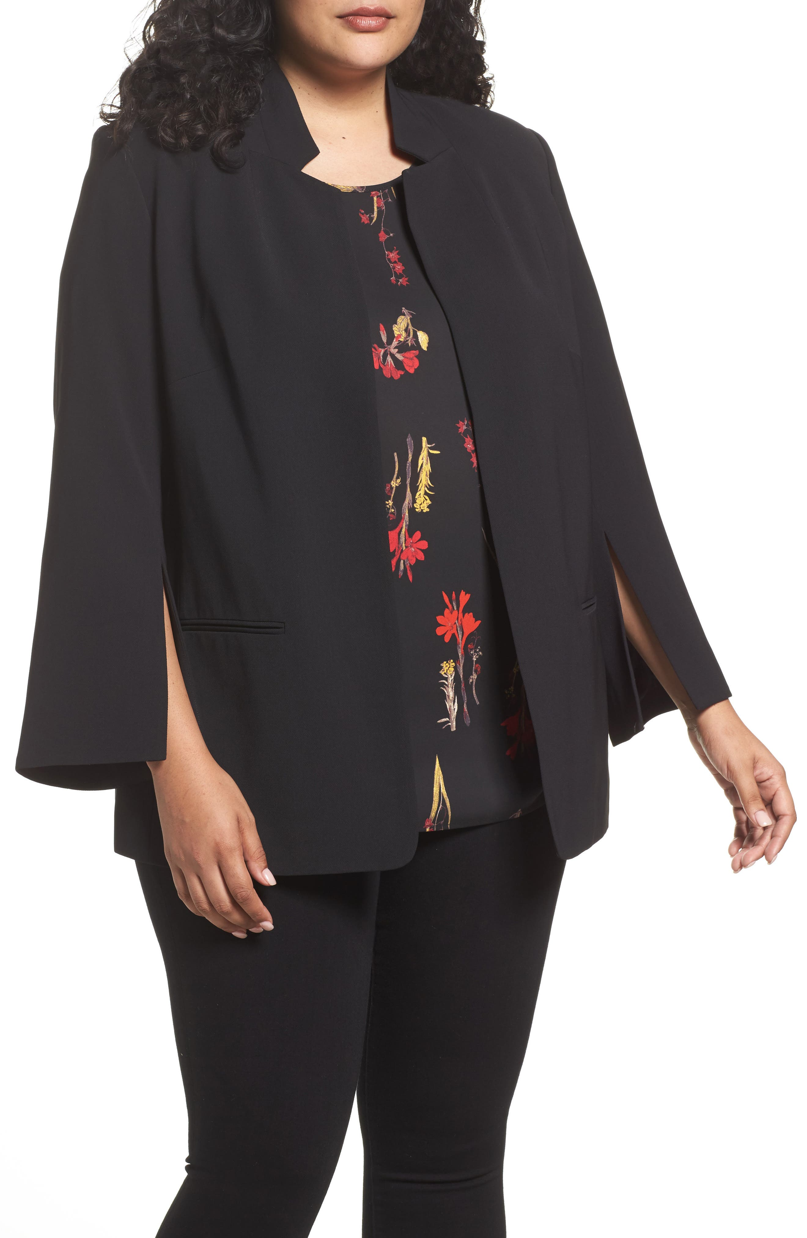 Split Bell Sleeve Blazer,                             Main thumbnail 1, color,                             Rich Black