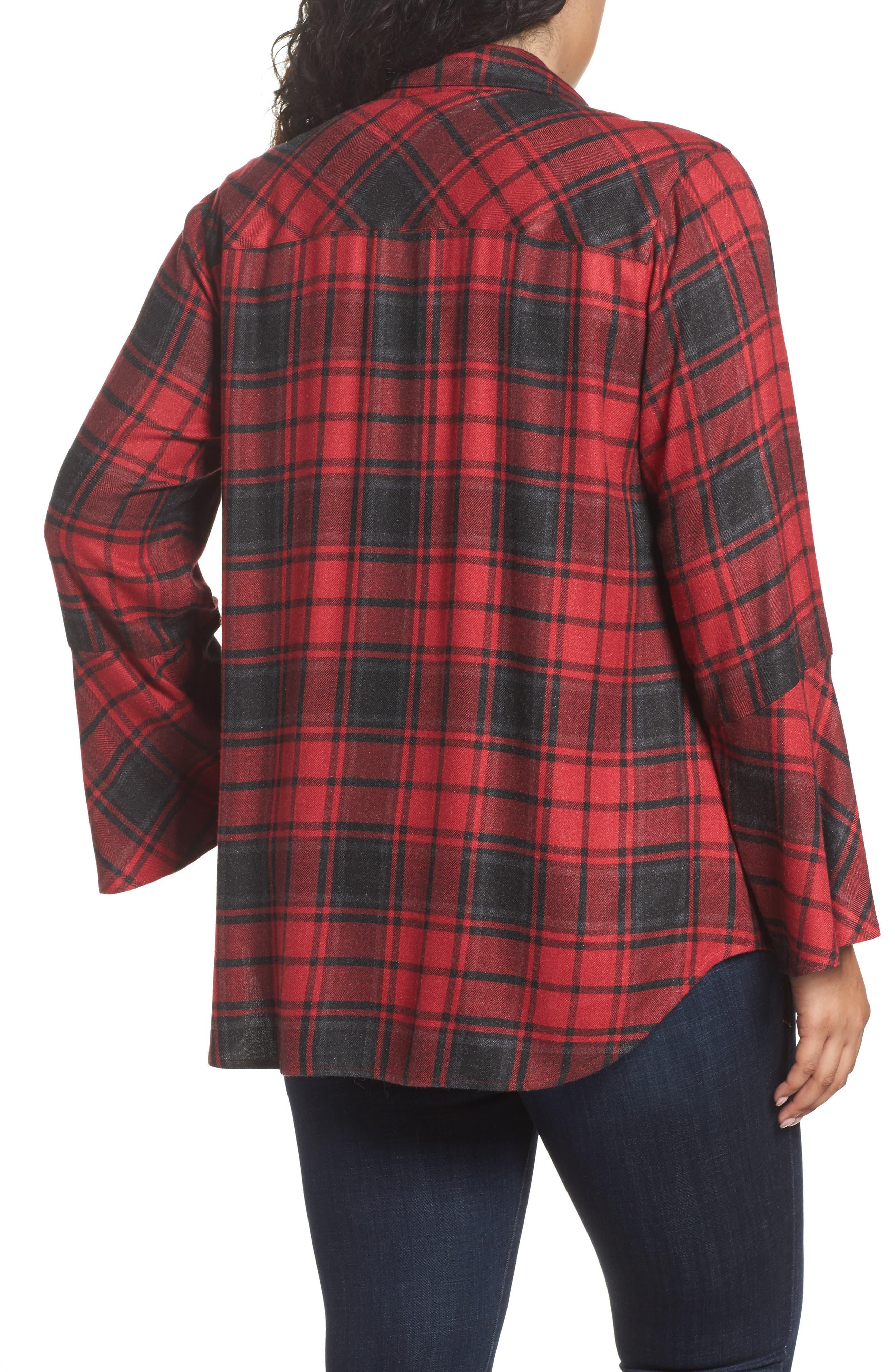 Stateside Bell Sleeve Shirt,                             Alternate thumbnail 2, color,                             Russet Red