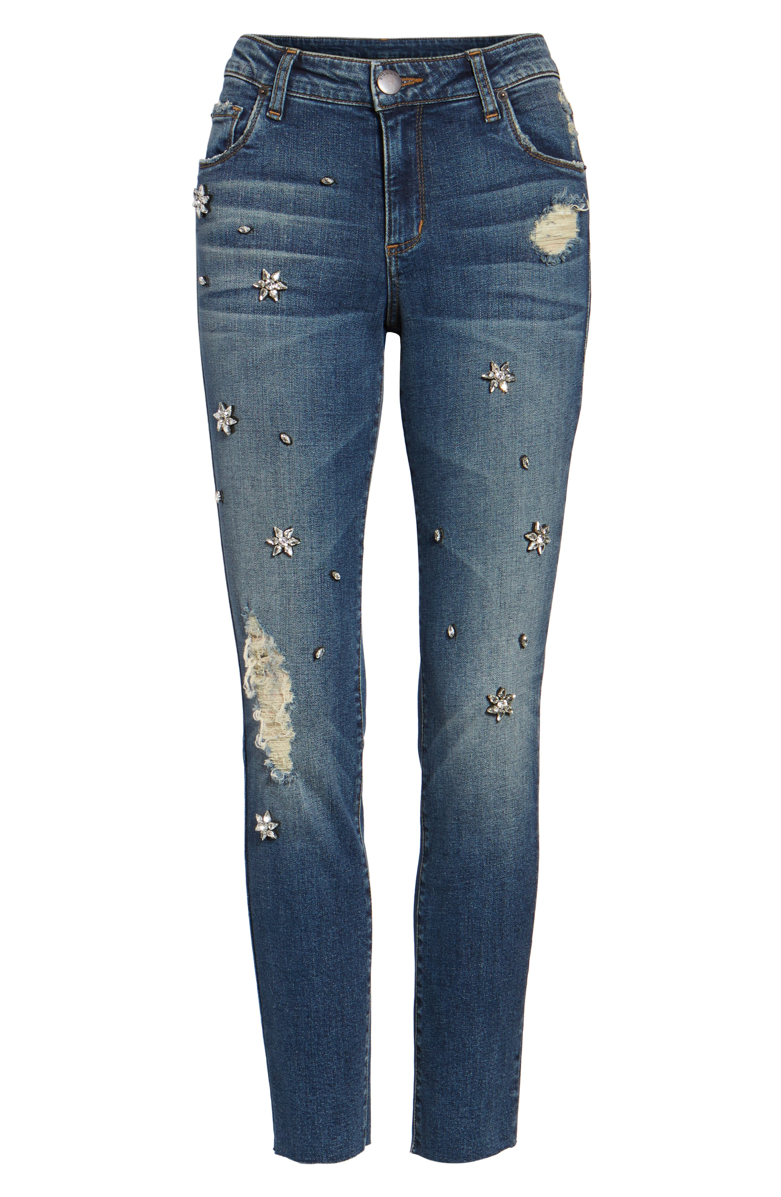 Taylor Jeweled Crop Straight Leg Jeans,                             Alternate thumbnail 6, color,                             East River View