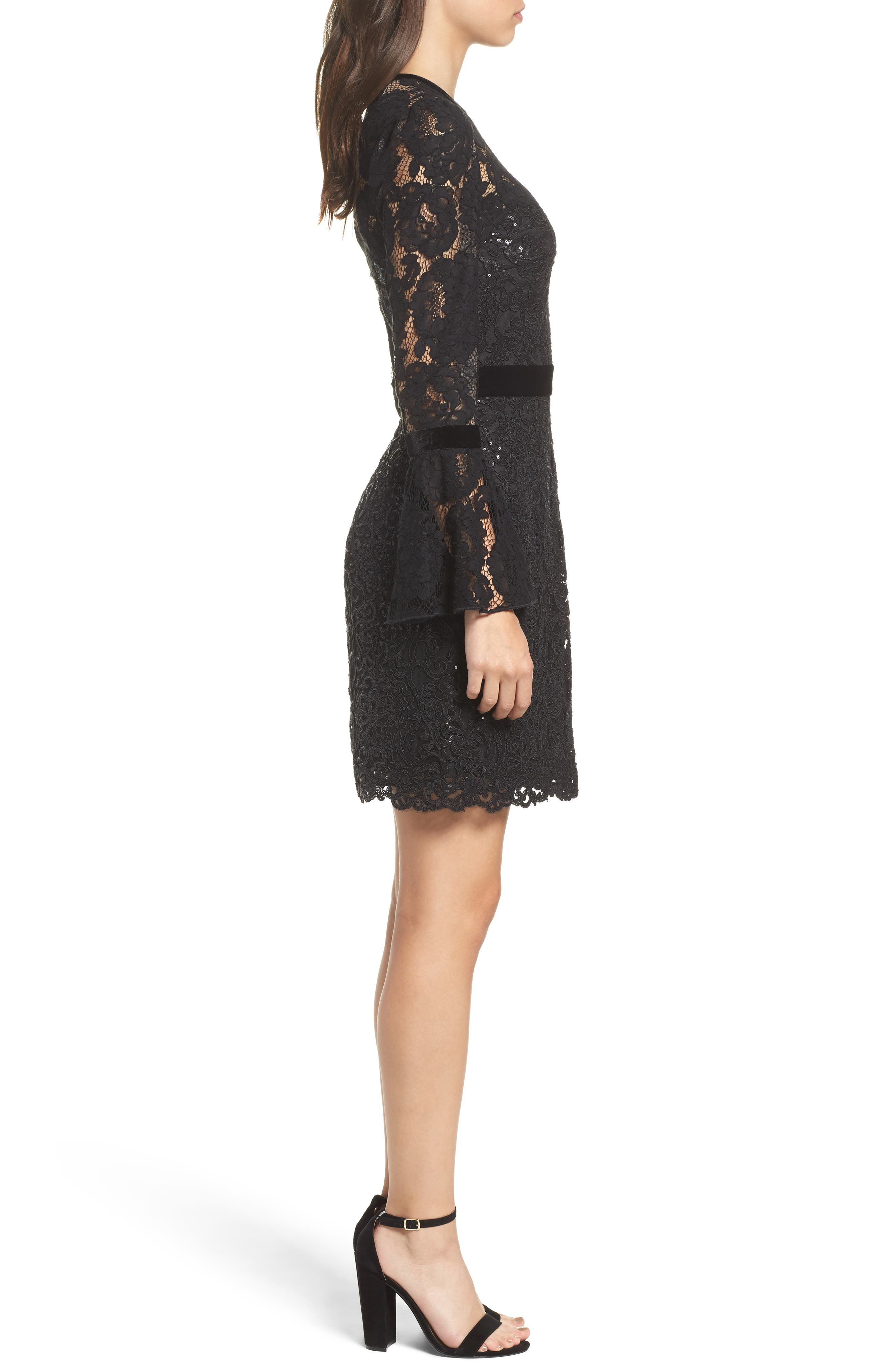 Alternate Image 3  - Tadashi Shoji Bell Sleeve Rose & Sequin Lace Dress