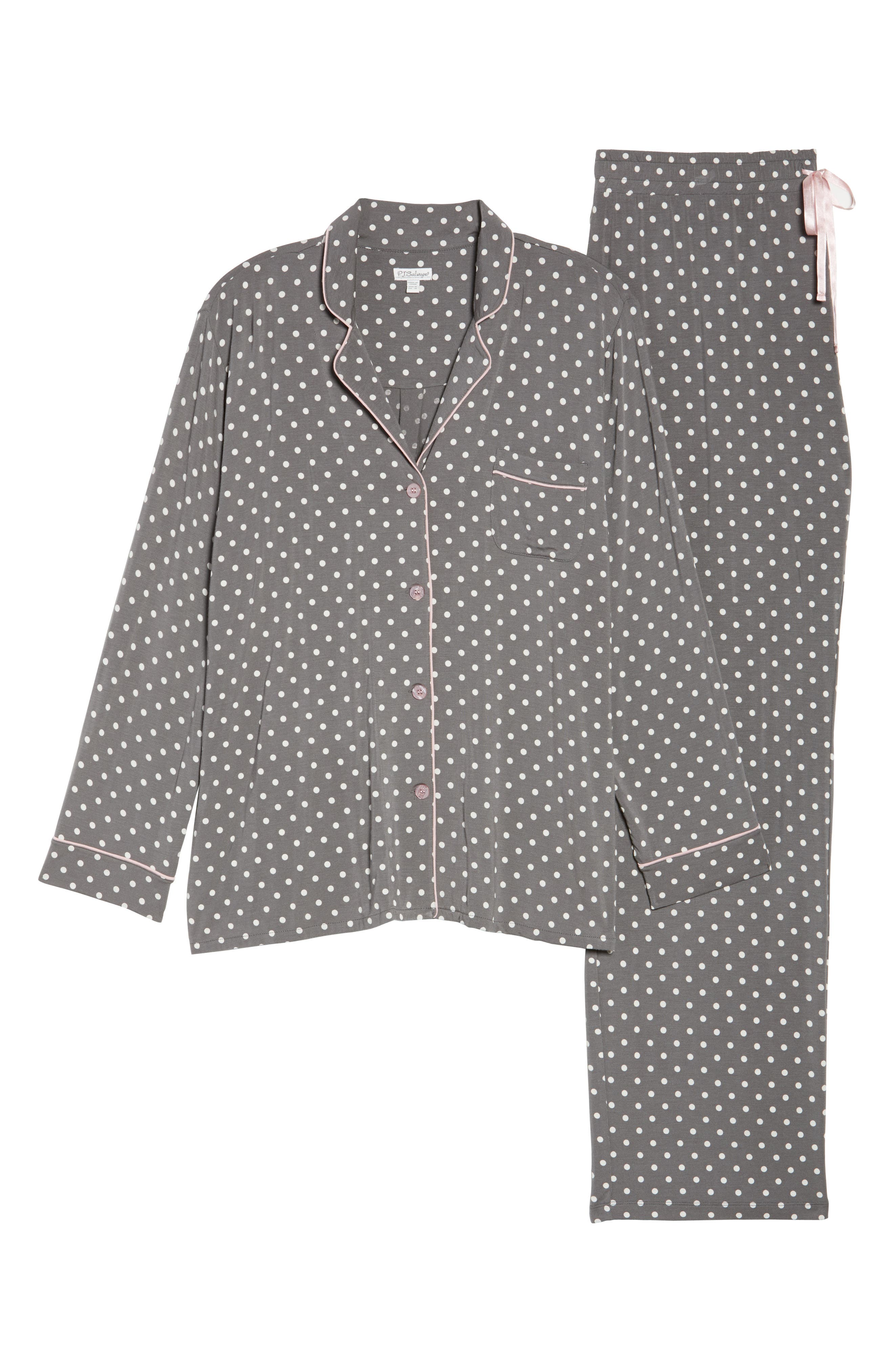 Polka Dot Pajamas,                             Alternate thumbnail 4, color,                             Charcoal