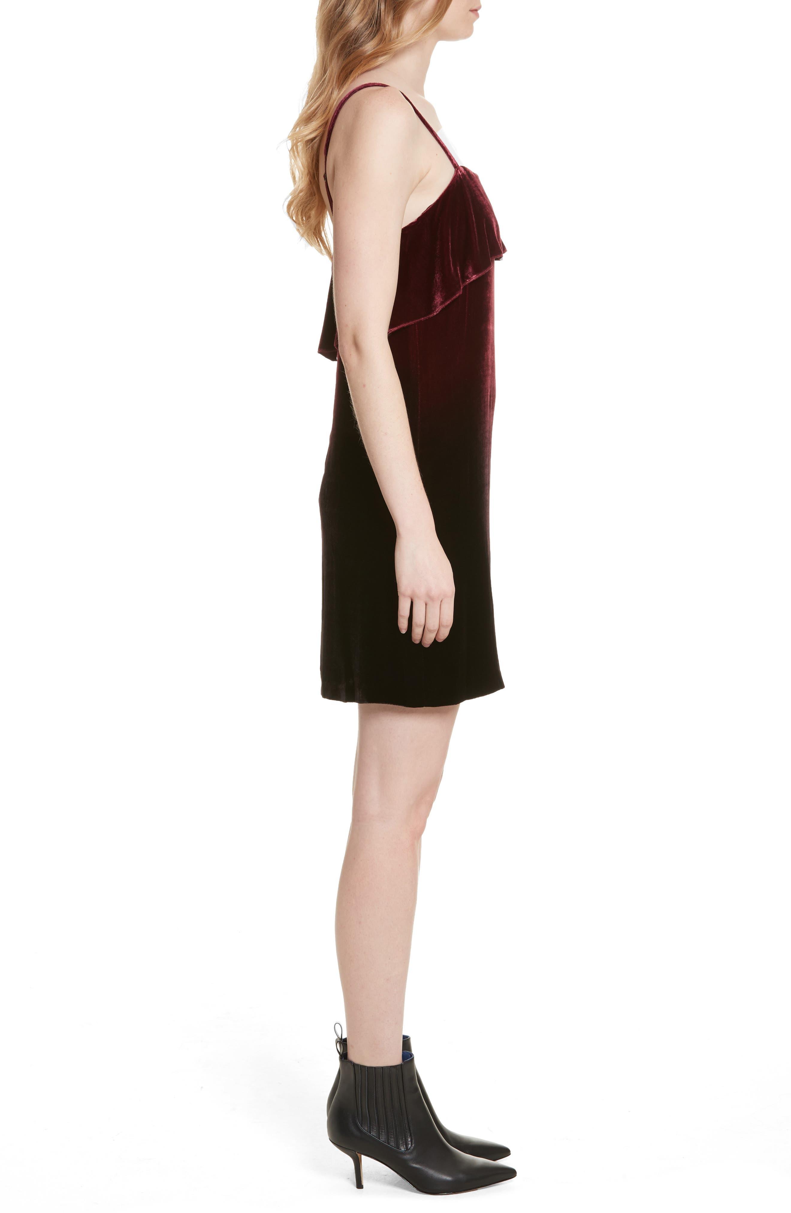Ruffle Bodice Velvet Dress,                             Alternate thumbnail 3, color,                             Wine