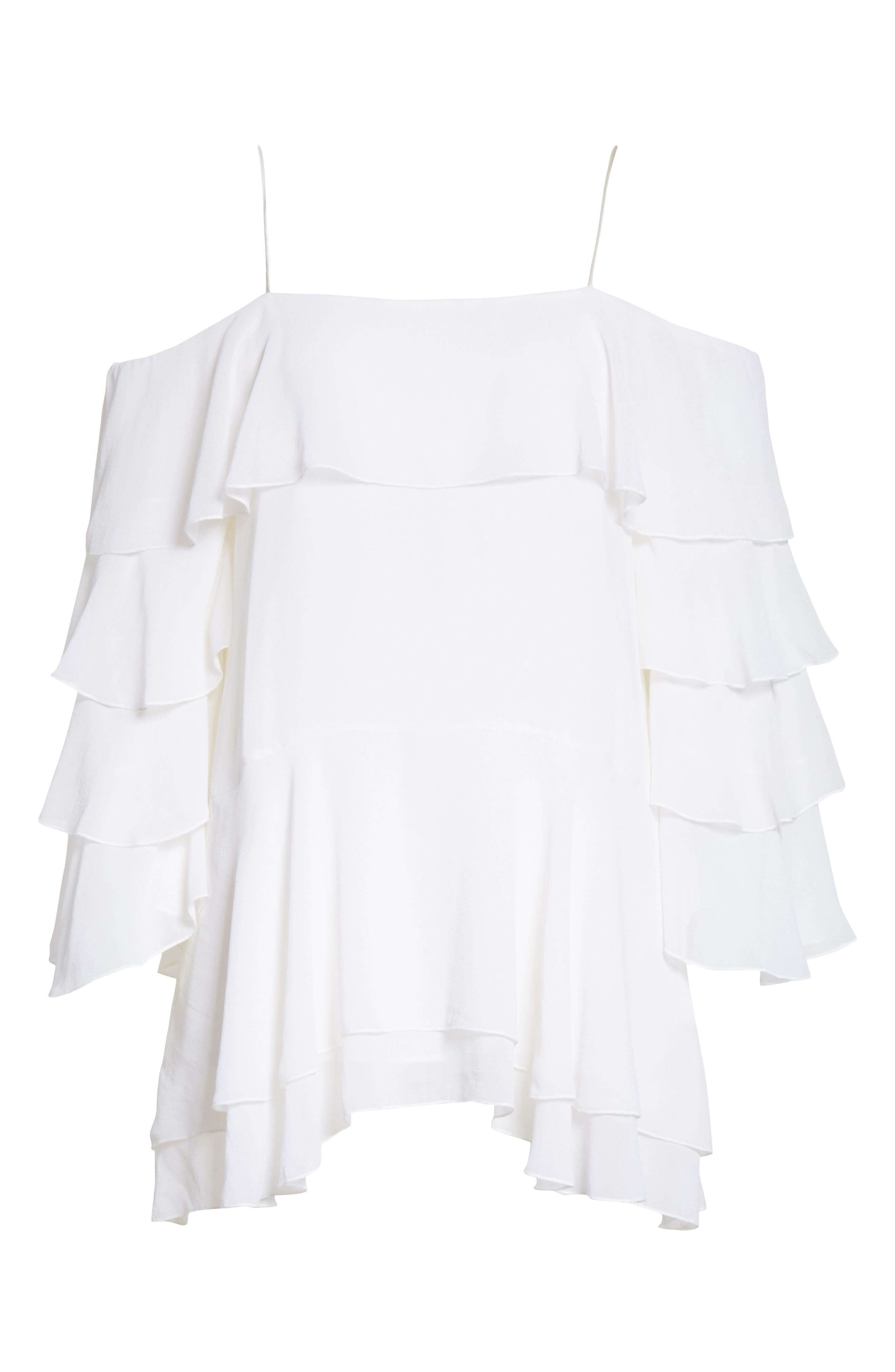 Alternate Image 6  - Alice + Olivia Lexia Lyrd Cold Shoulder Ruffle Silk Top
