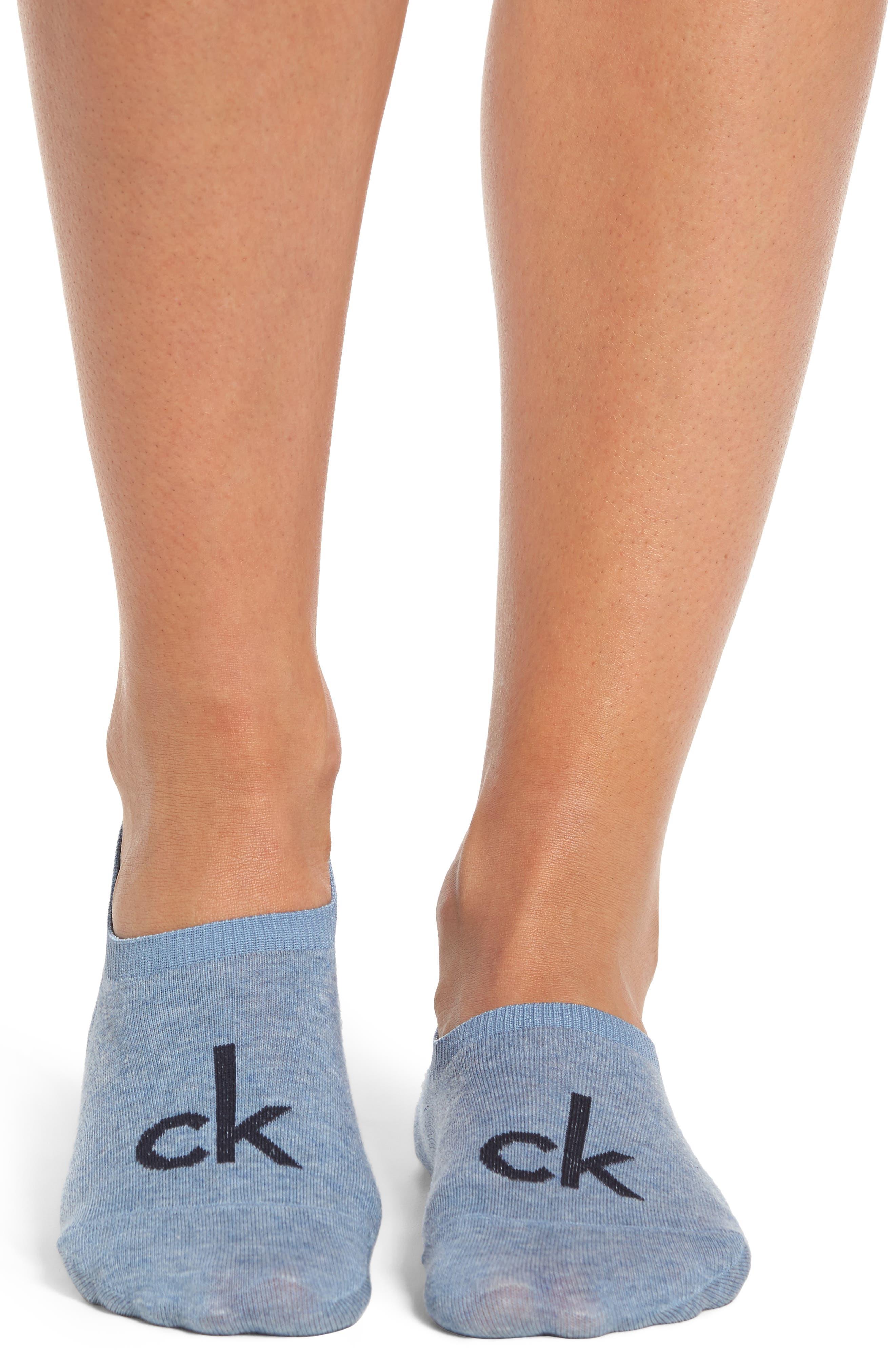Logo No-Show Socks,                             Alternate thumbnail 2, color,                             Stonewash Heather