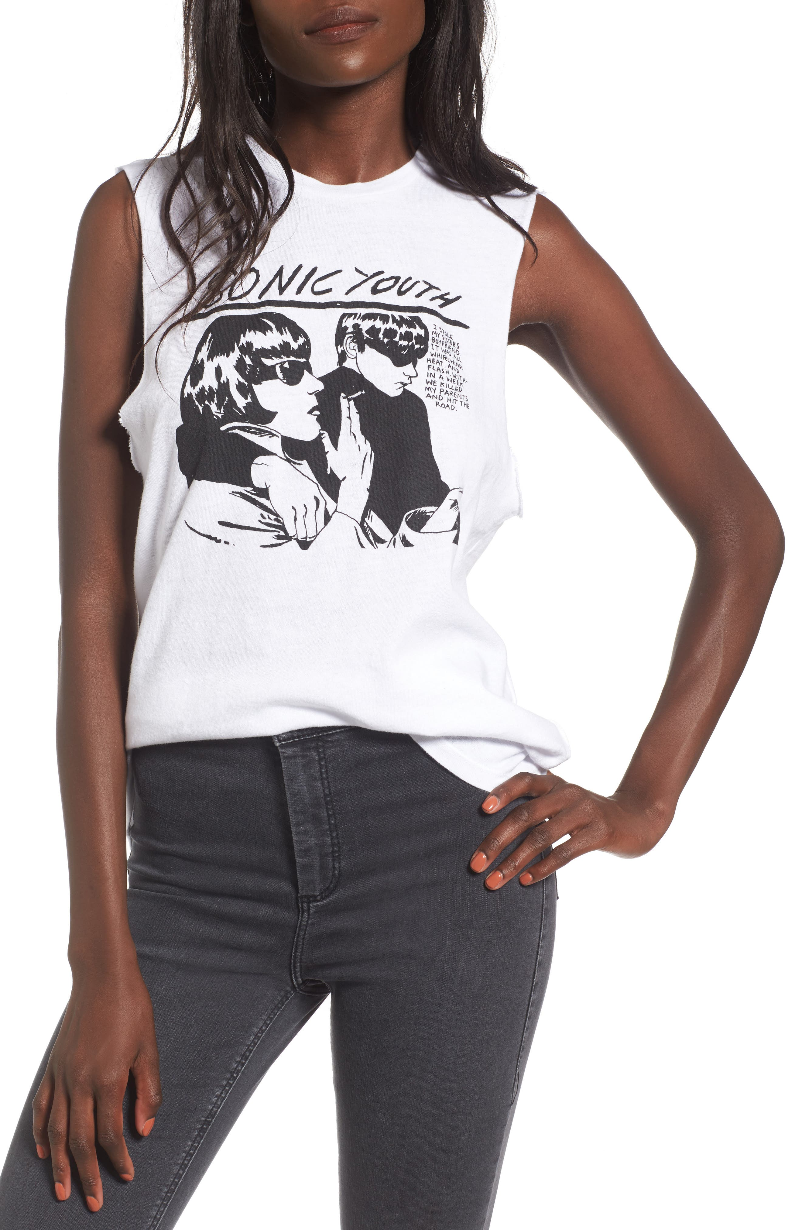 by And Finally Sonic Youth Graphic Tank,                         Main,                         color, White Multi