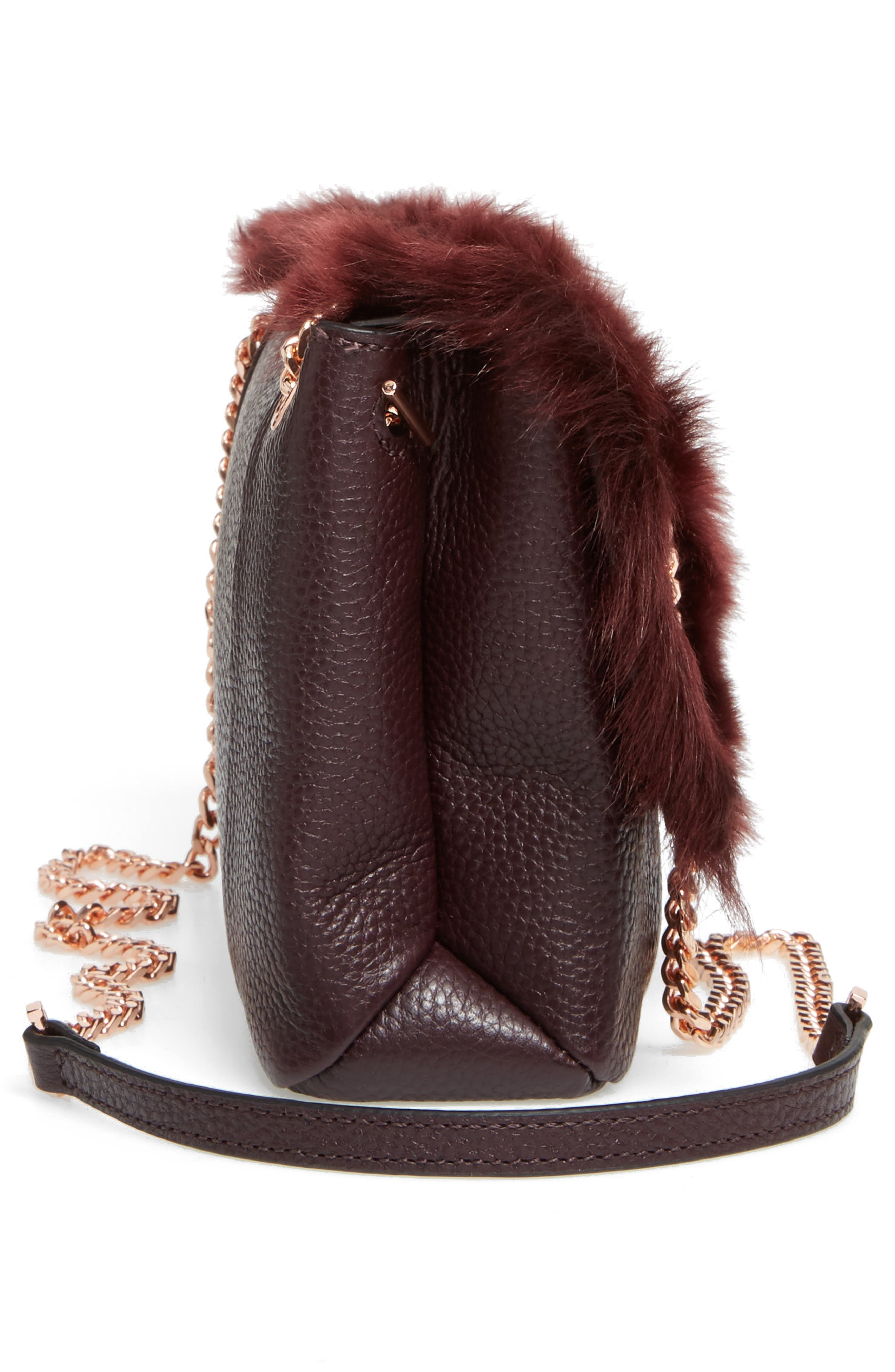 Fuzzi Genuine Shearling & Leather Convertible Crossbody Bag,                             Alternate thumbnail 4, color,                             Maroon