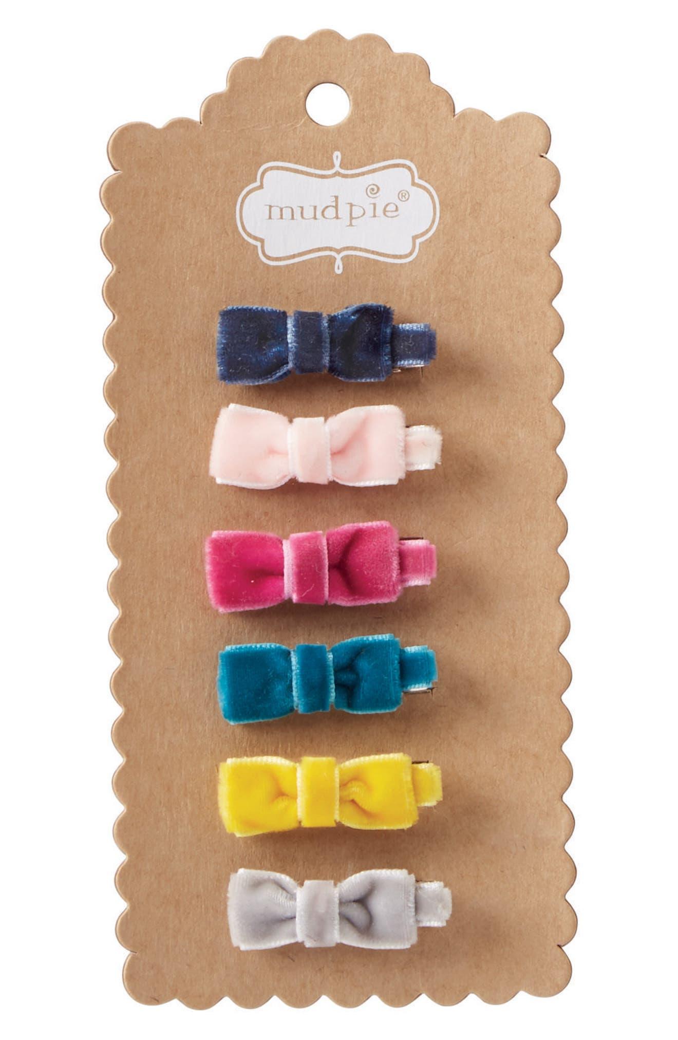 Mud Pie 6-Pack Mini Velvet Bows (Baby Girls)
