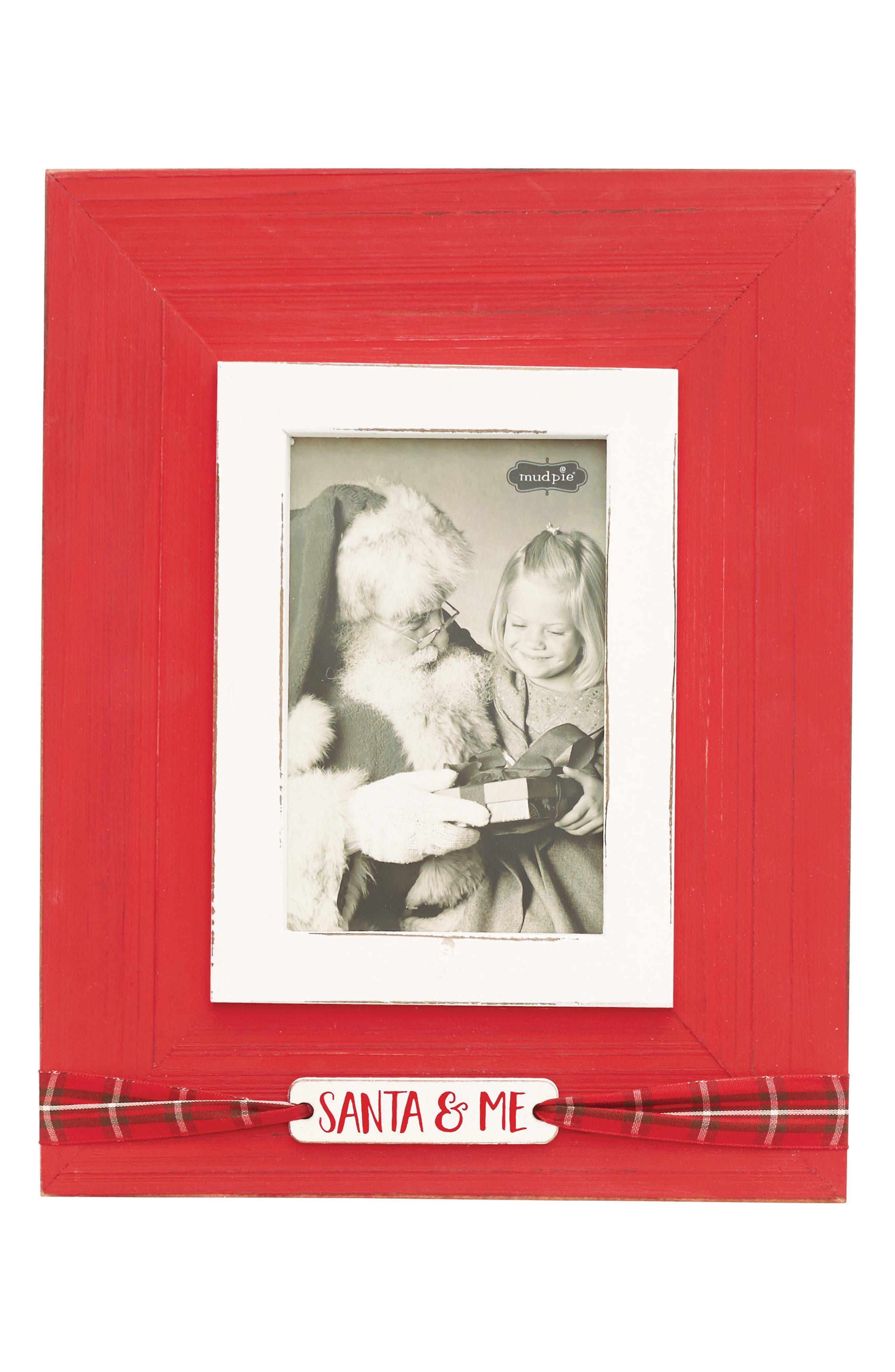 Santa & Me Tartan Ribbon Wood Photo Frame,                         Main,                         color, Red