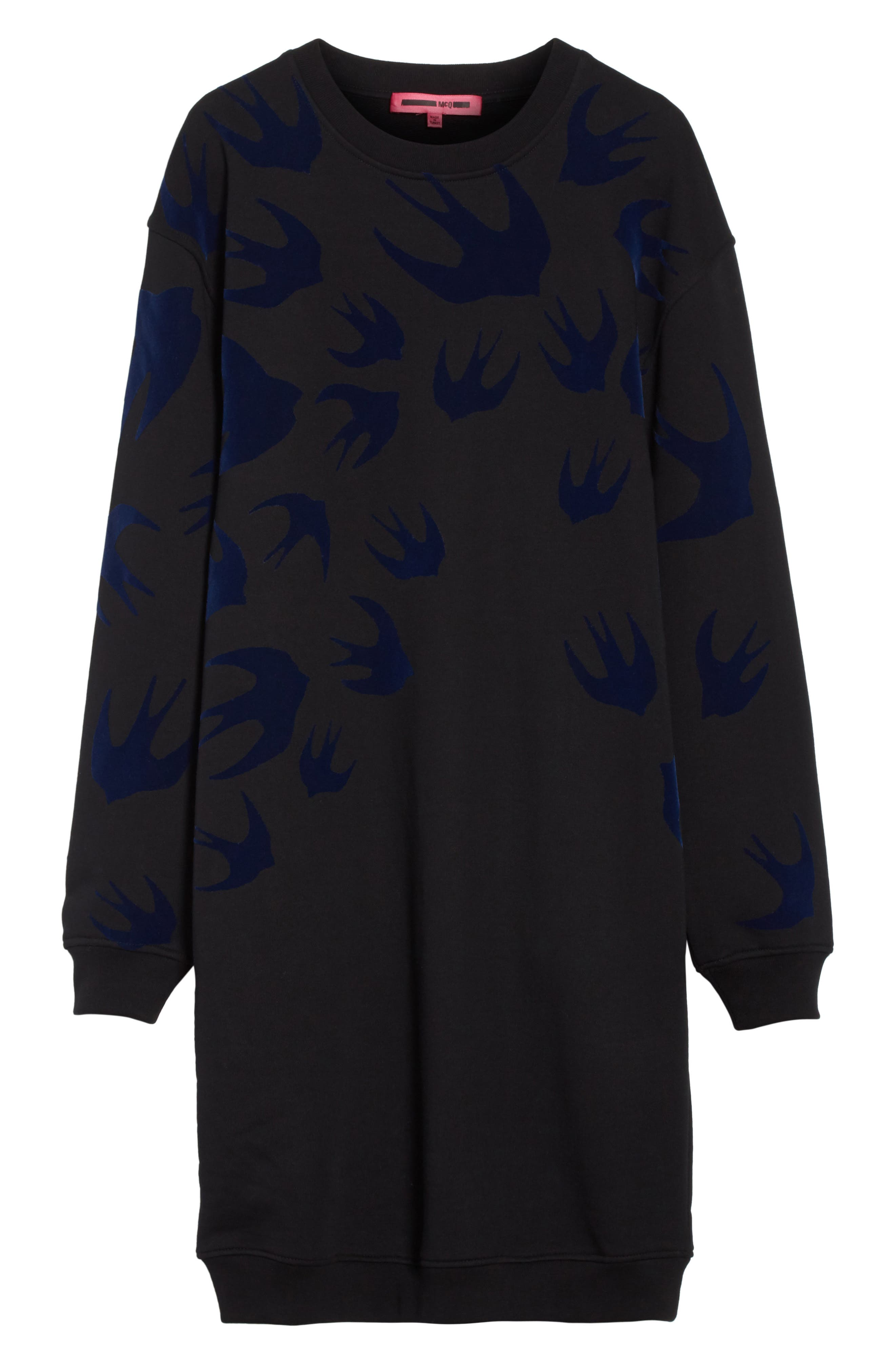 Swallow Classic Sweatshirt Dress,                             Alternate thumbnail 6, color,                             Black Multi