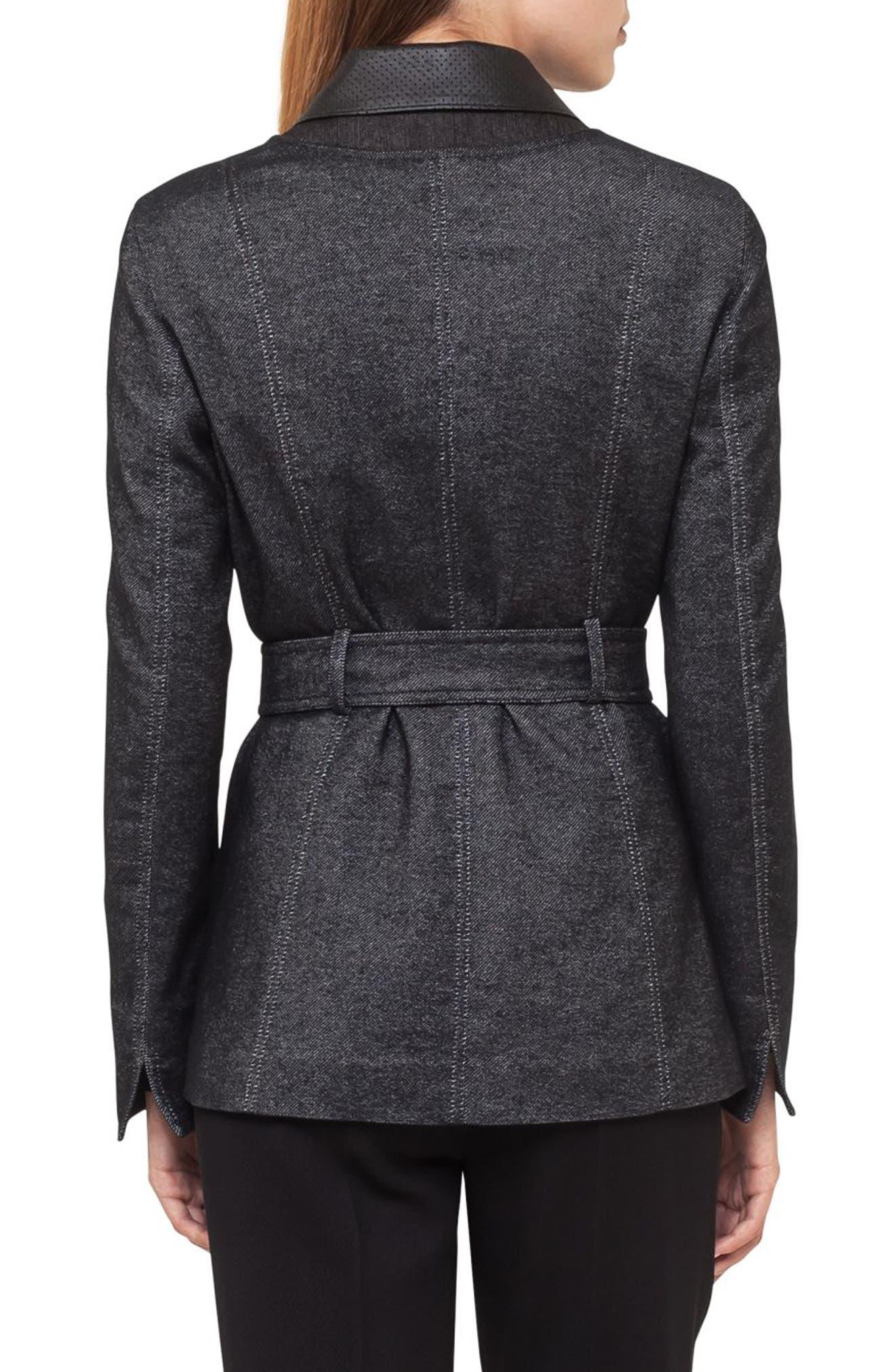 Leather Trim Denim Jacket,                             Alternate thumbnail 3, color,                             Black Denim