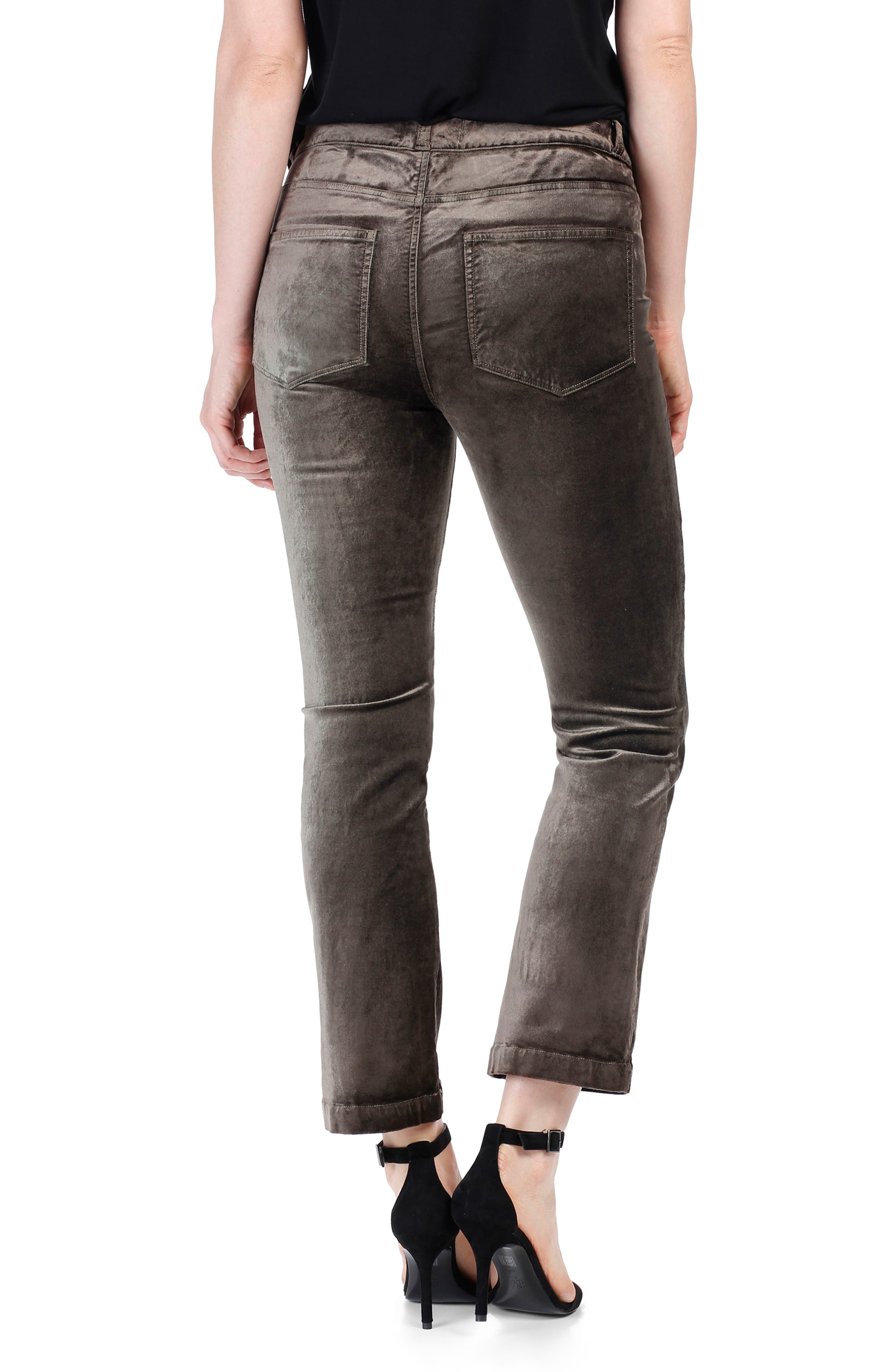 Colette High Waist Crop Flare Velvet Pants,                             Alternate thumbnail 2, color,                             Deep Juniper
