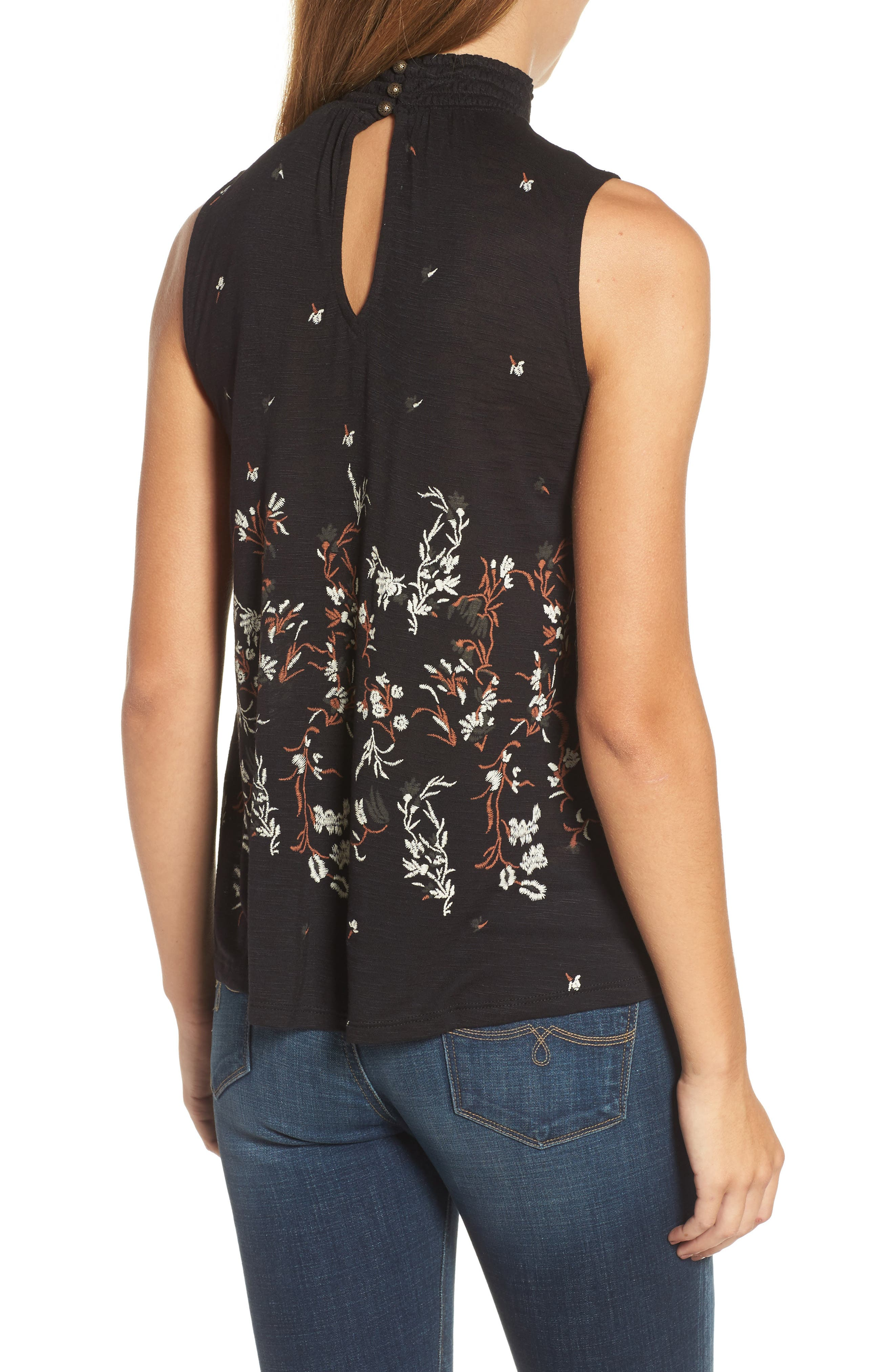 Mock Neck Floral Top,                             Alternate thumbnail 2, color,                             Black Multi