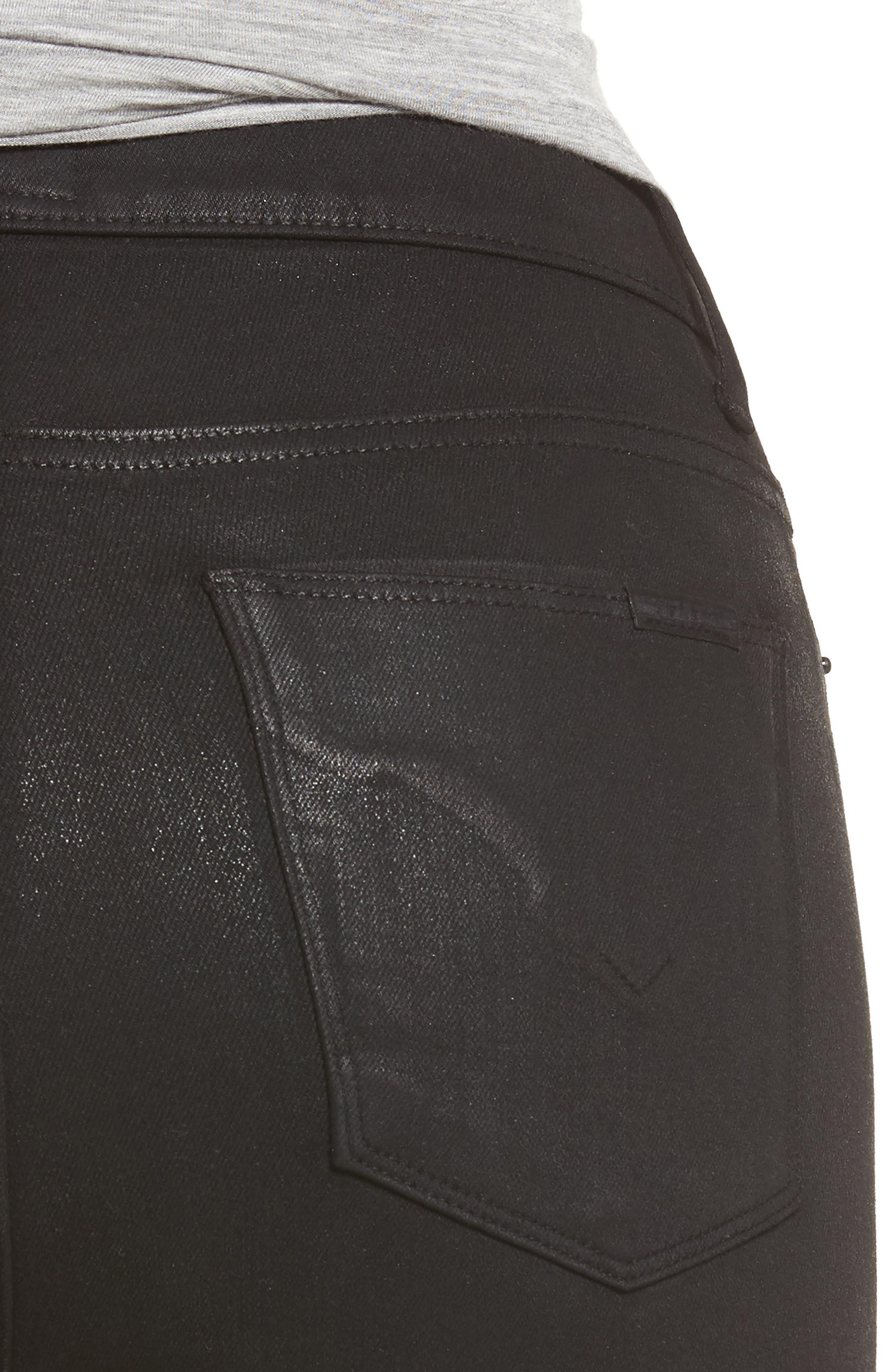 Barbara High Waist Skinny Jeans,                             Alternate thumbnail 4, color,                             Noir Coated