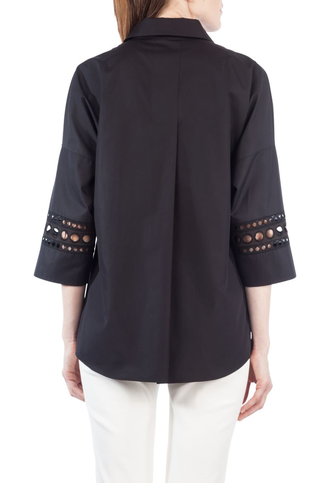 Lace Trim Kimono Blouse,                             Alternate thumbnail 2, color,                             Black