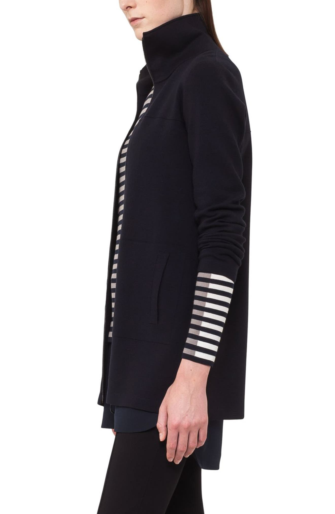Stretch Wool Milano Knit Cardigan,                             Alternate thumbnail 3, color,                             Navy