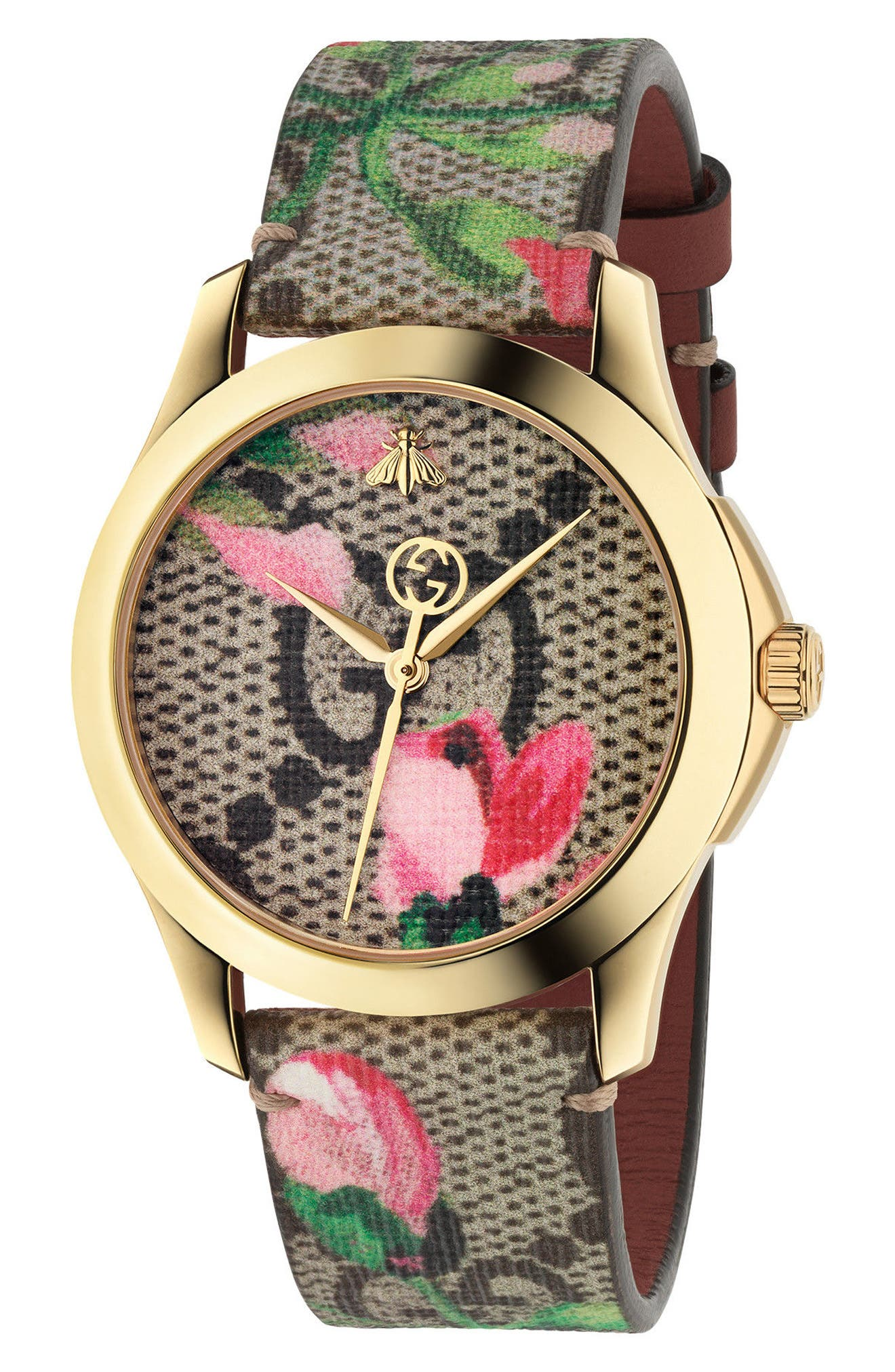 Gucci G-Timeless Print Canvas Strap Watch, 38mm