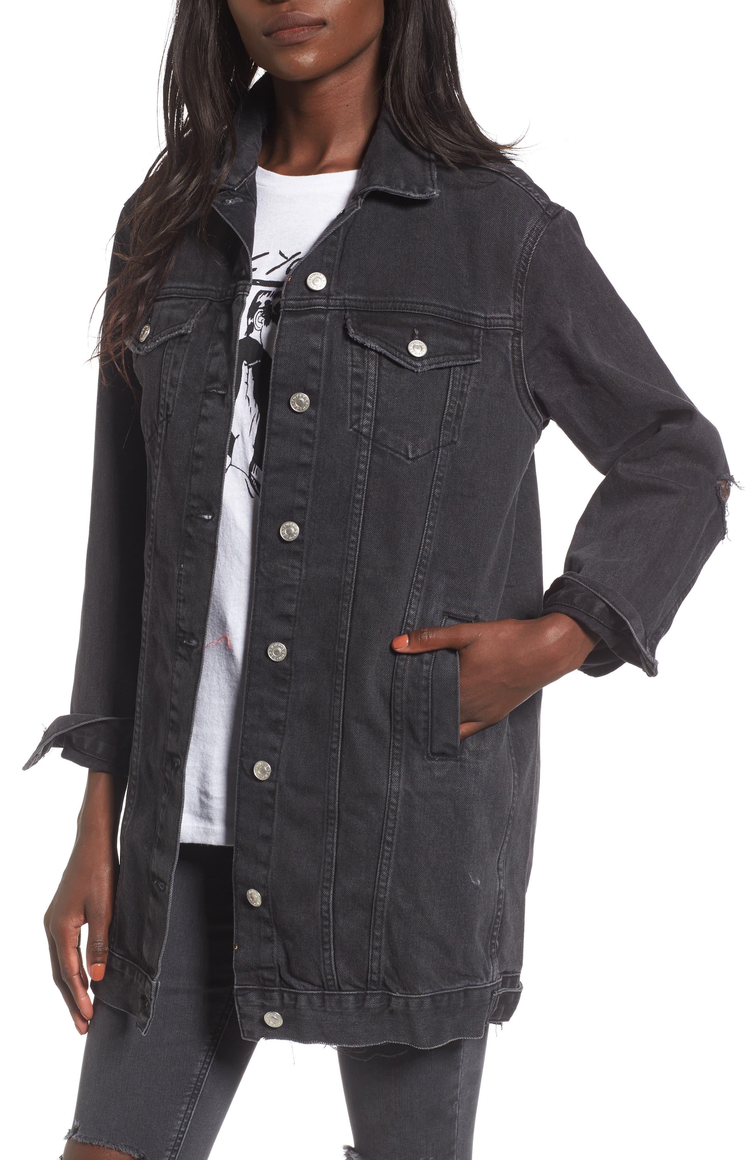 Ripped Elbow Longline Denim Jacket,                         Main,                         color, Washed Black