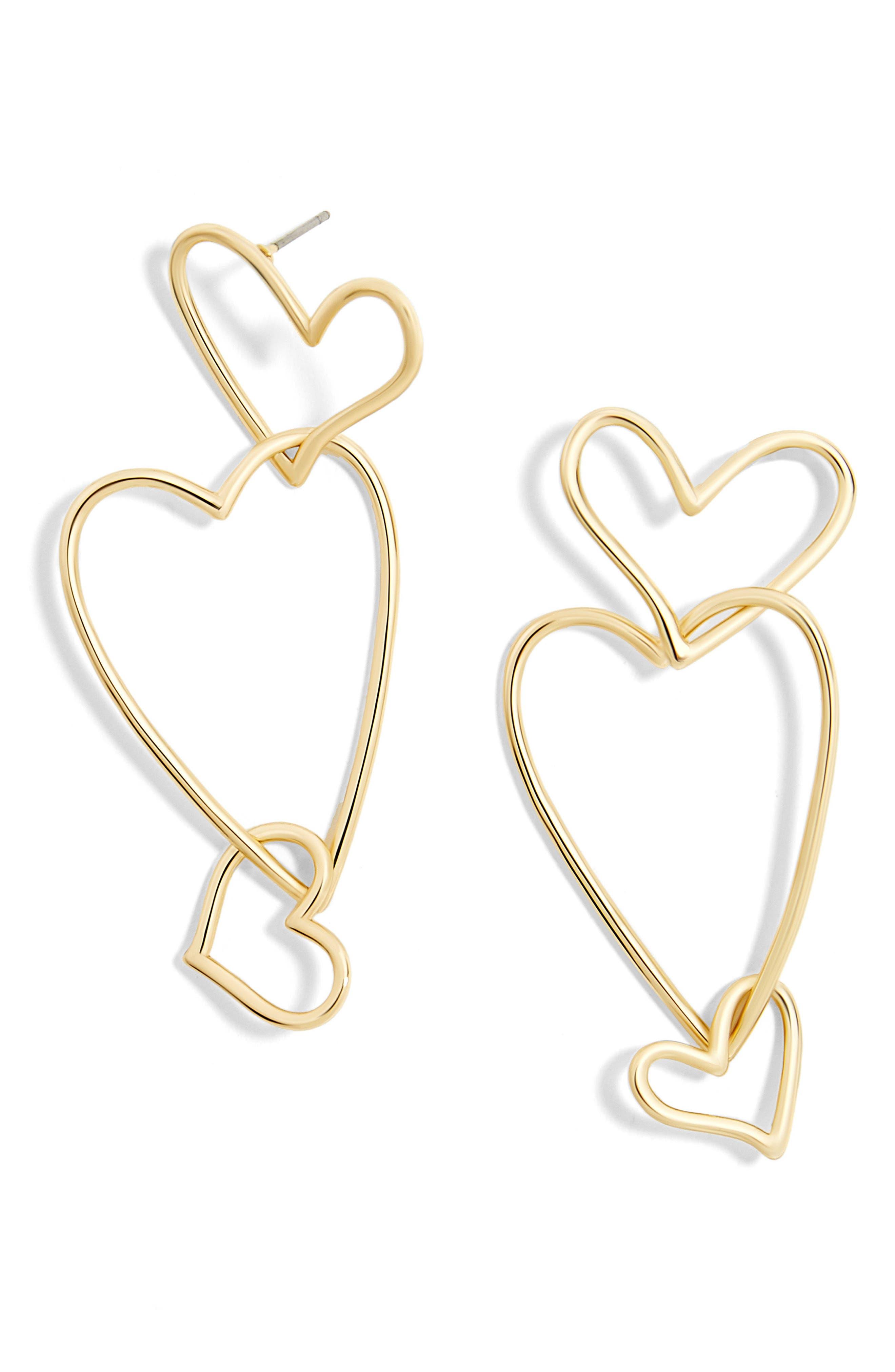 Minimal Heart Drop Earrings,                         Main,                         color, Gold