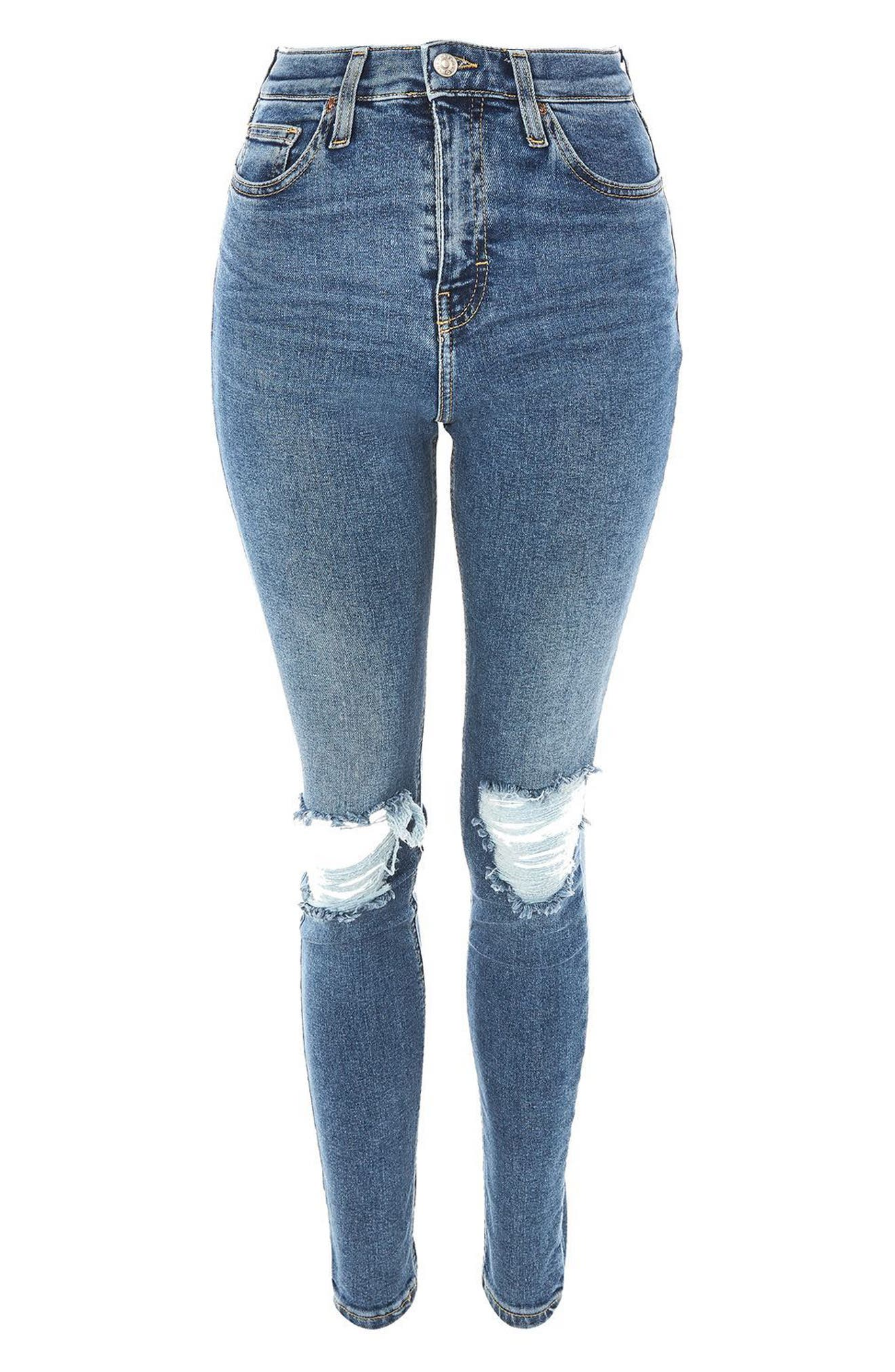 Jamie Rip High Waist Skinny Jeans,                             Alternate thumbnail 4, color,                             Mid Denim