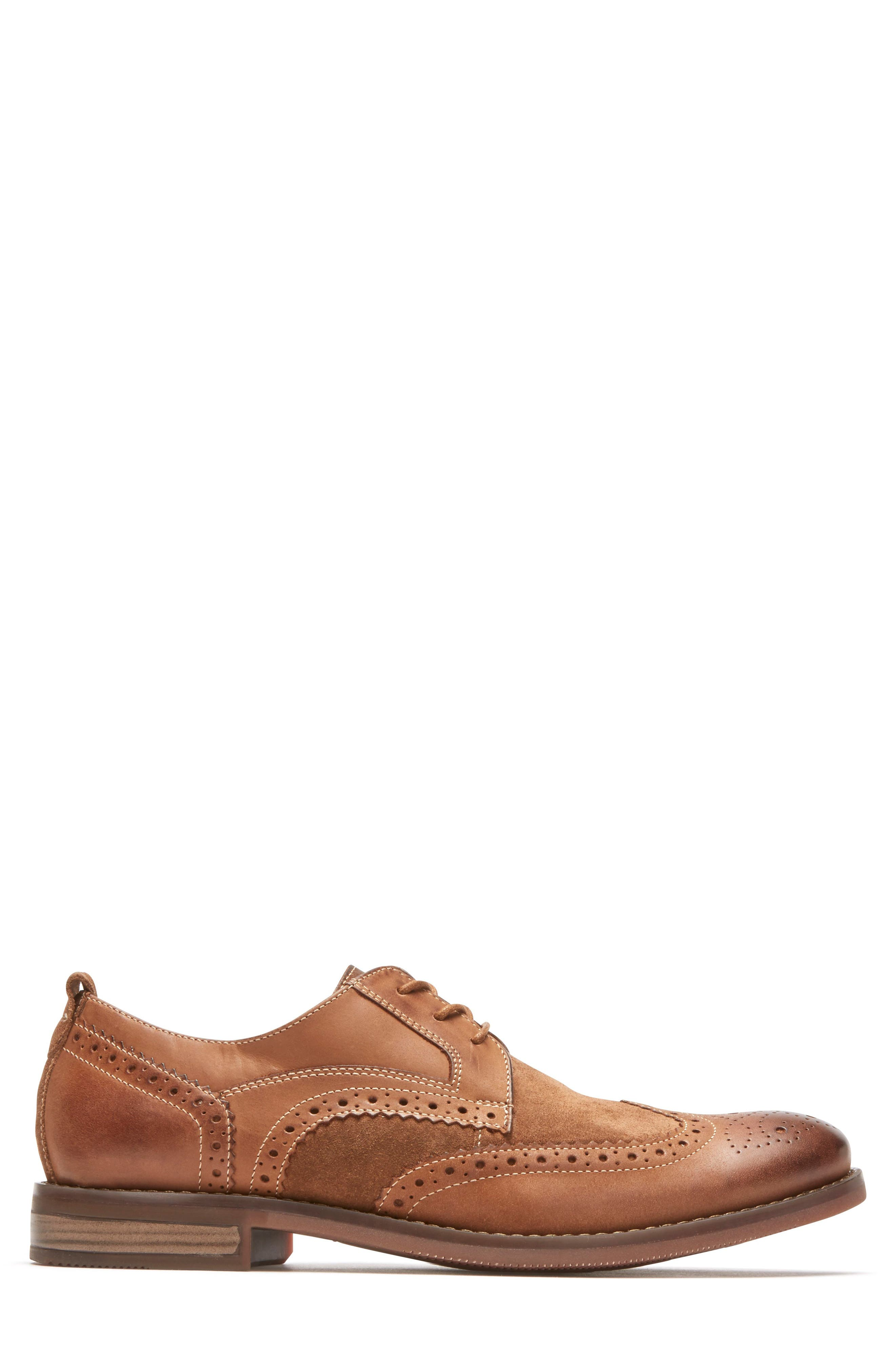 Wynstin Wingtip,                             Alternate thumbnail 3, color,                             Tobacco Leather/ Suede