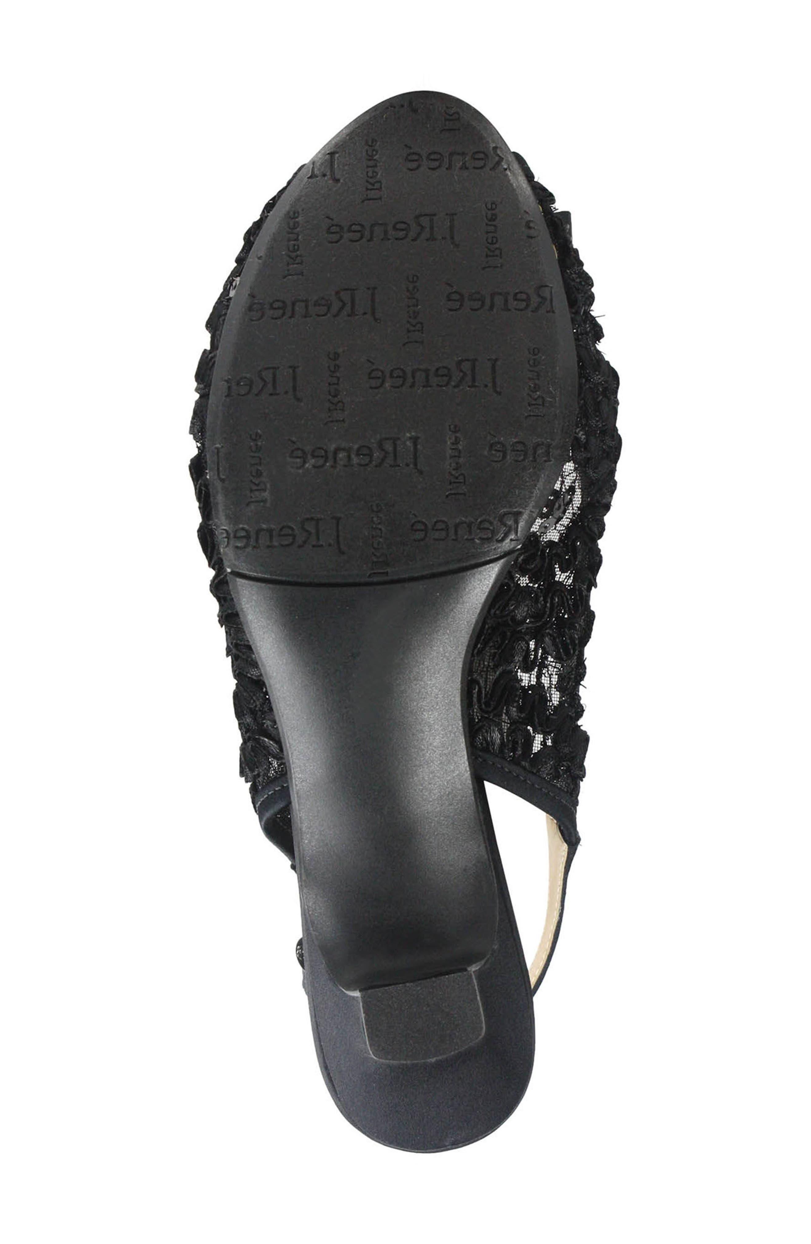 Landan Bow Slingback Sandal,                             Alternate thumbnail 5, color,                             Black Lace