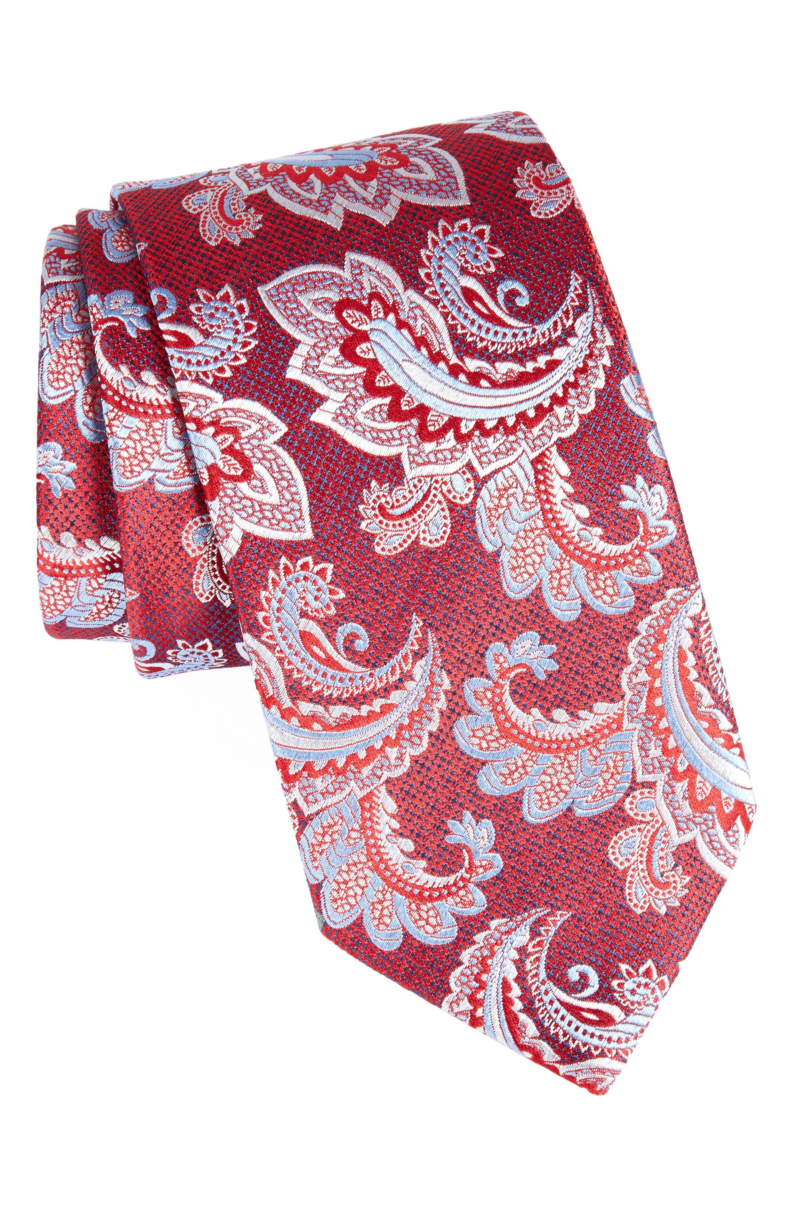 Paisley Silk Tie,                         Main,                         color, Red