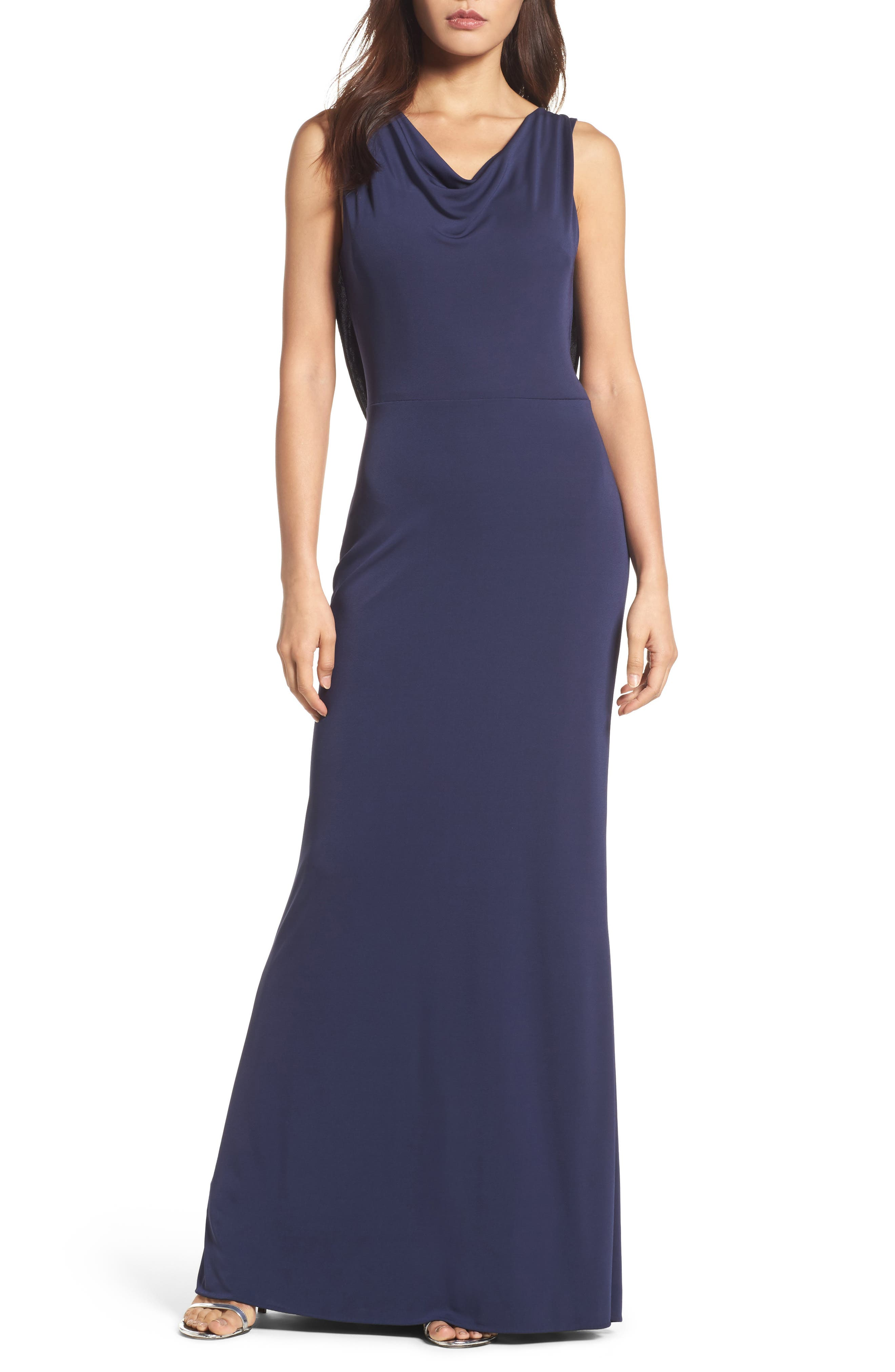 Vera Double-Cowl Gown,                         Main,                         color, Midnight