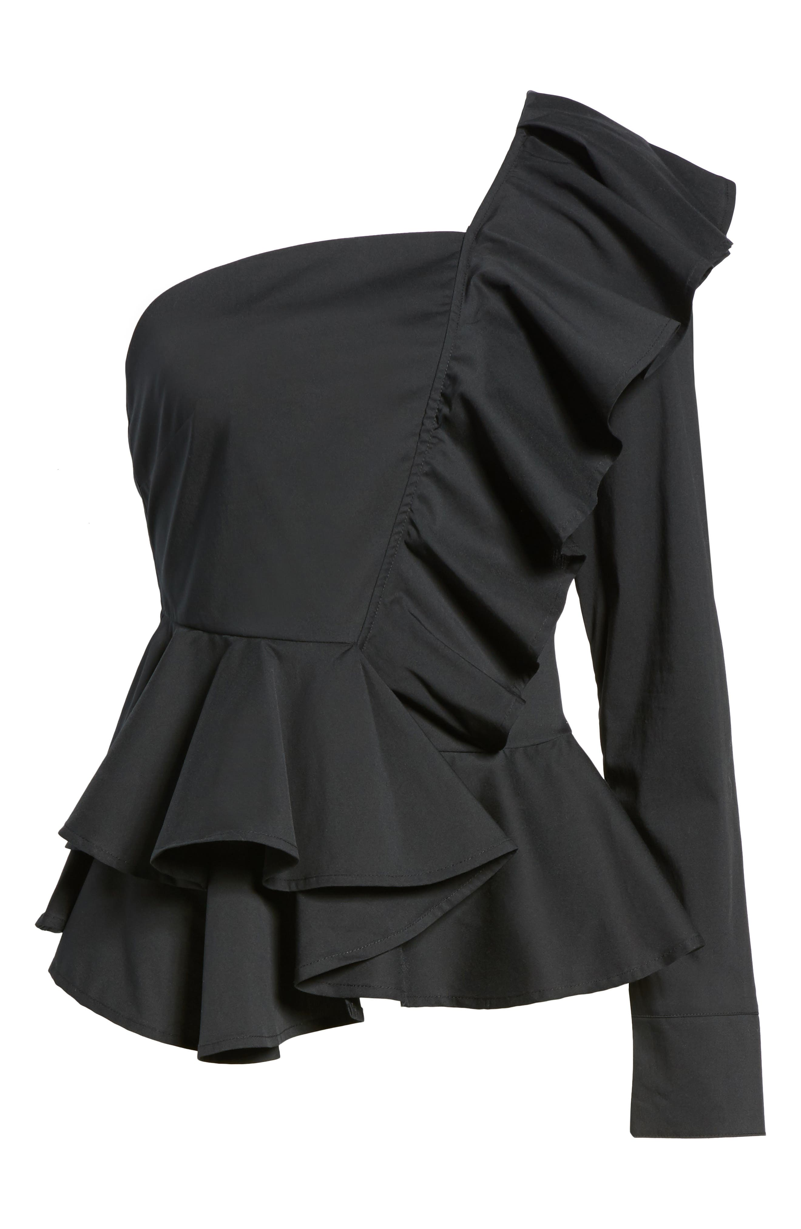 Ruffle One-Shoulder Blouse,                             Alternate thumbnail 6, color,                             Black